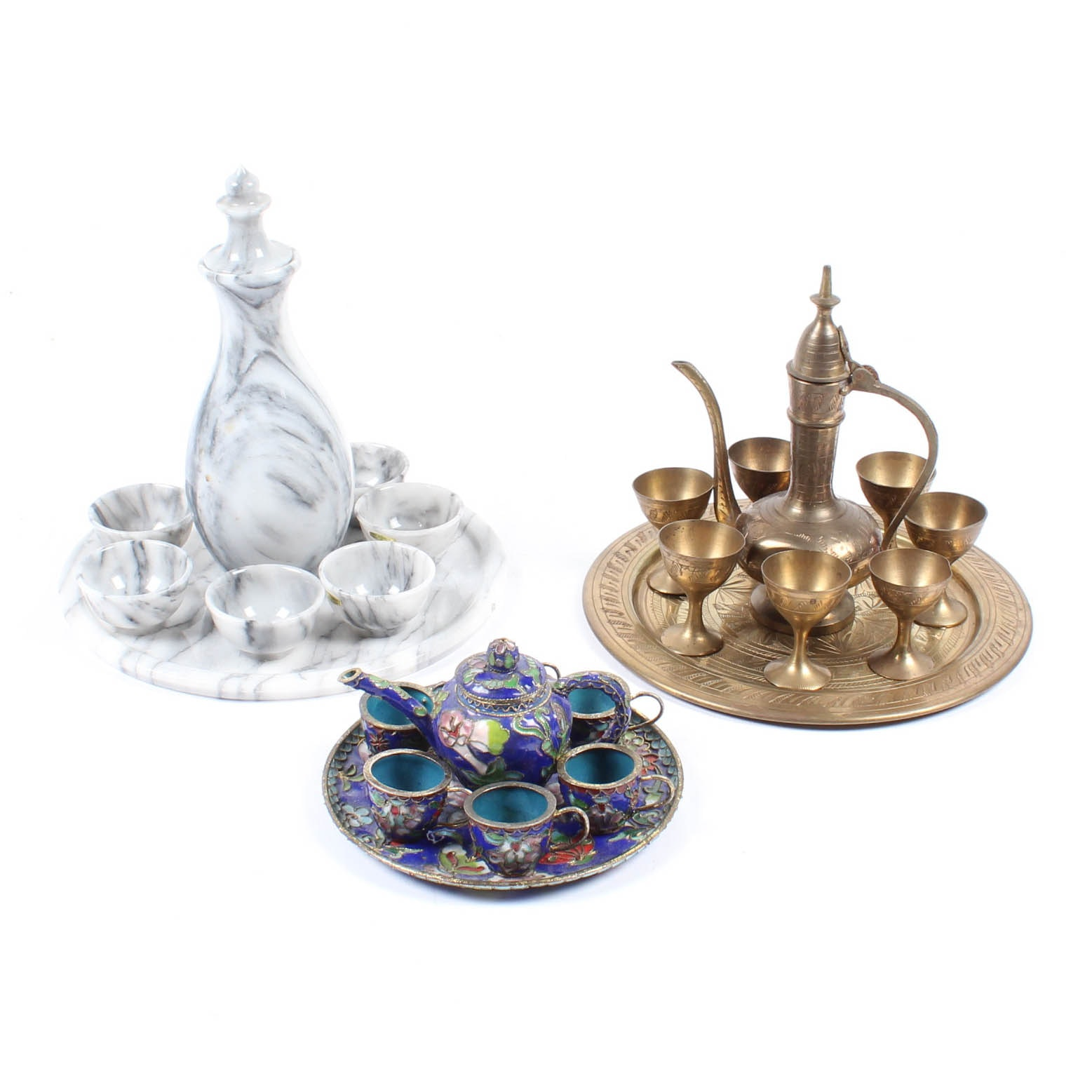 Marble, Brass and Cloisonne Beverage Service Sets