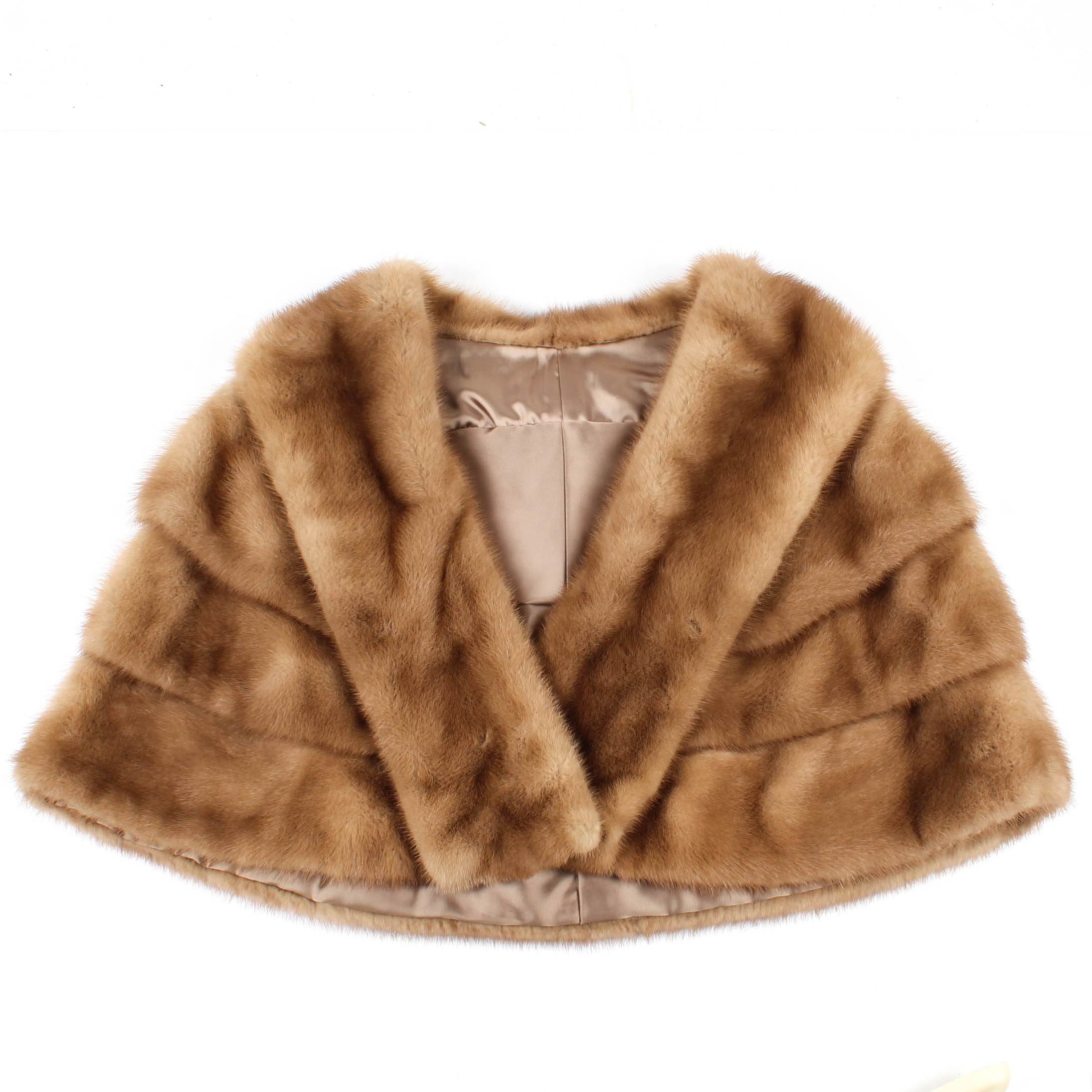 Vintage Tiered Mink Fur Stole with Collar