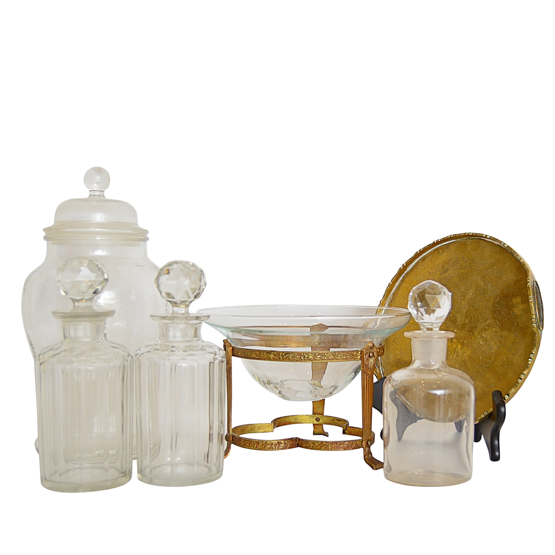 Vintage Glassware with Brass Tray