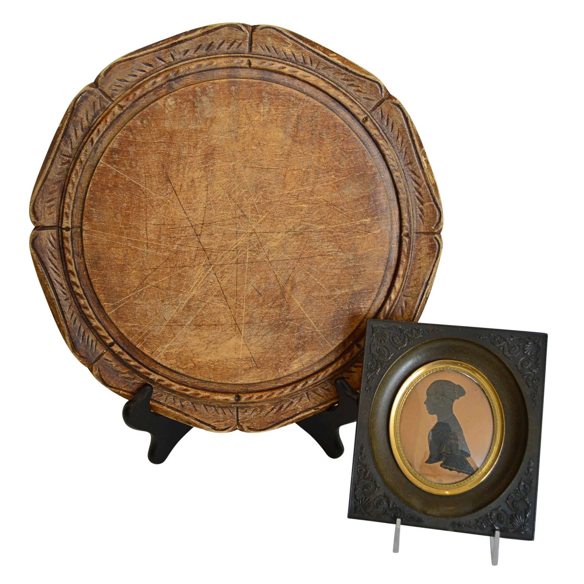 Antique Treenware Platter and Framed Ancestral Silhouette
