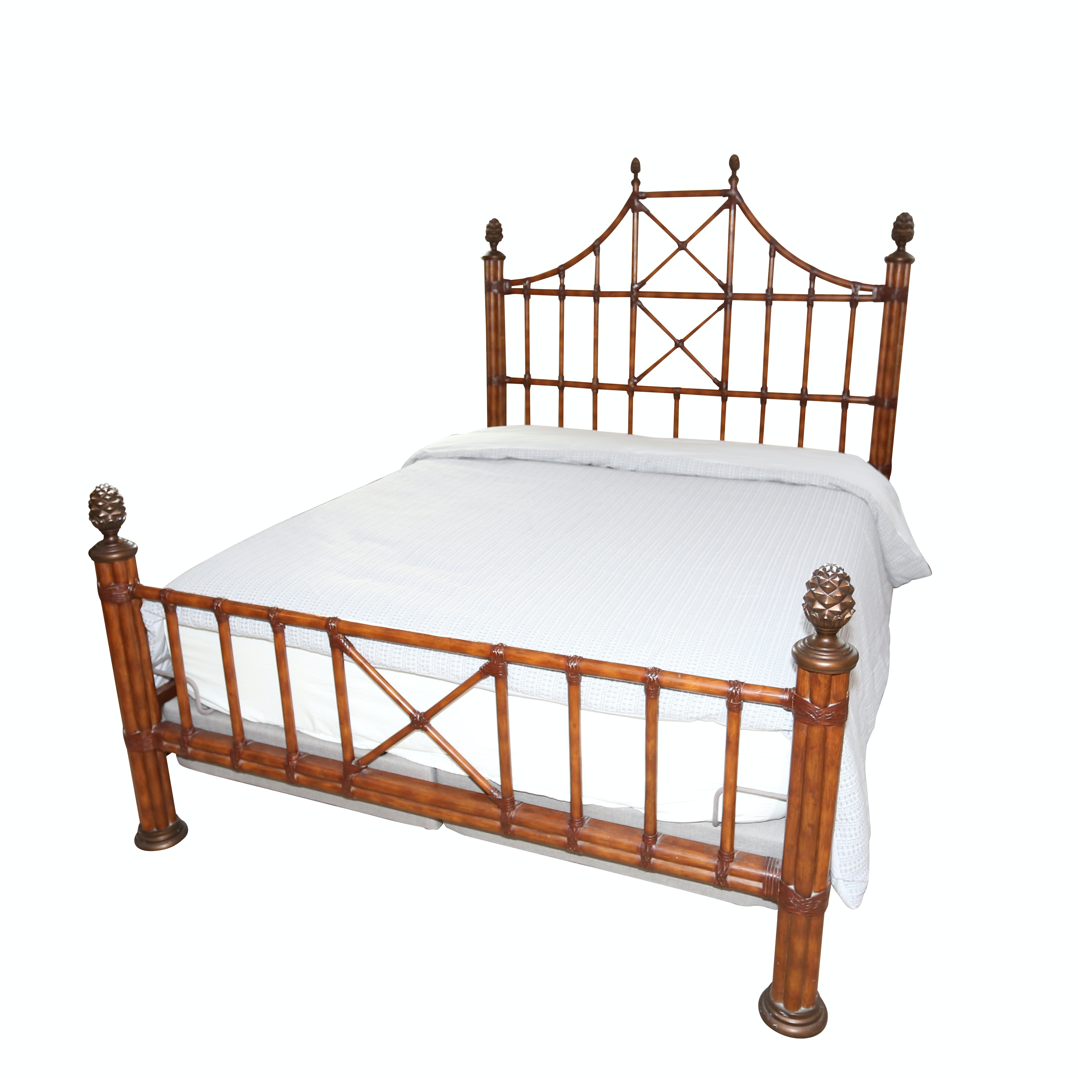 British Colonial Style Queen Size Bed Frame, 21st Century