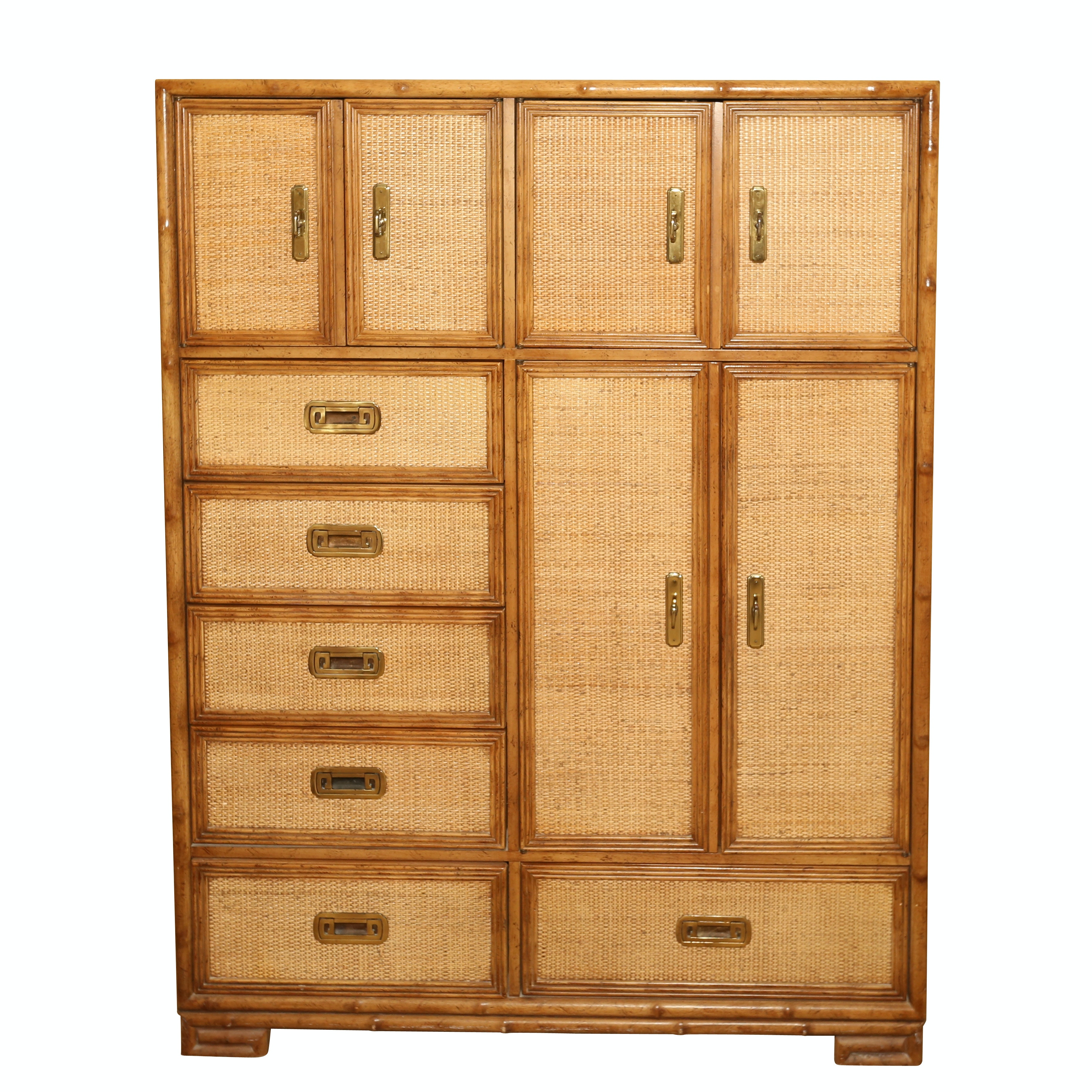 Captiva Collection Faux Bamboo Wood Dresser by Drexel, Mid-20th Century
