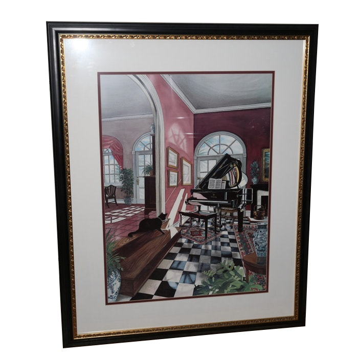 """David Gill Offset Lithograph """"Panes in the Music"""""""