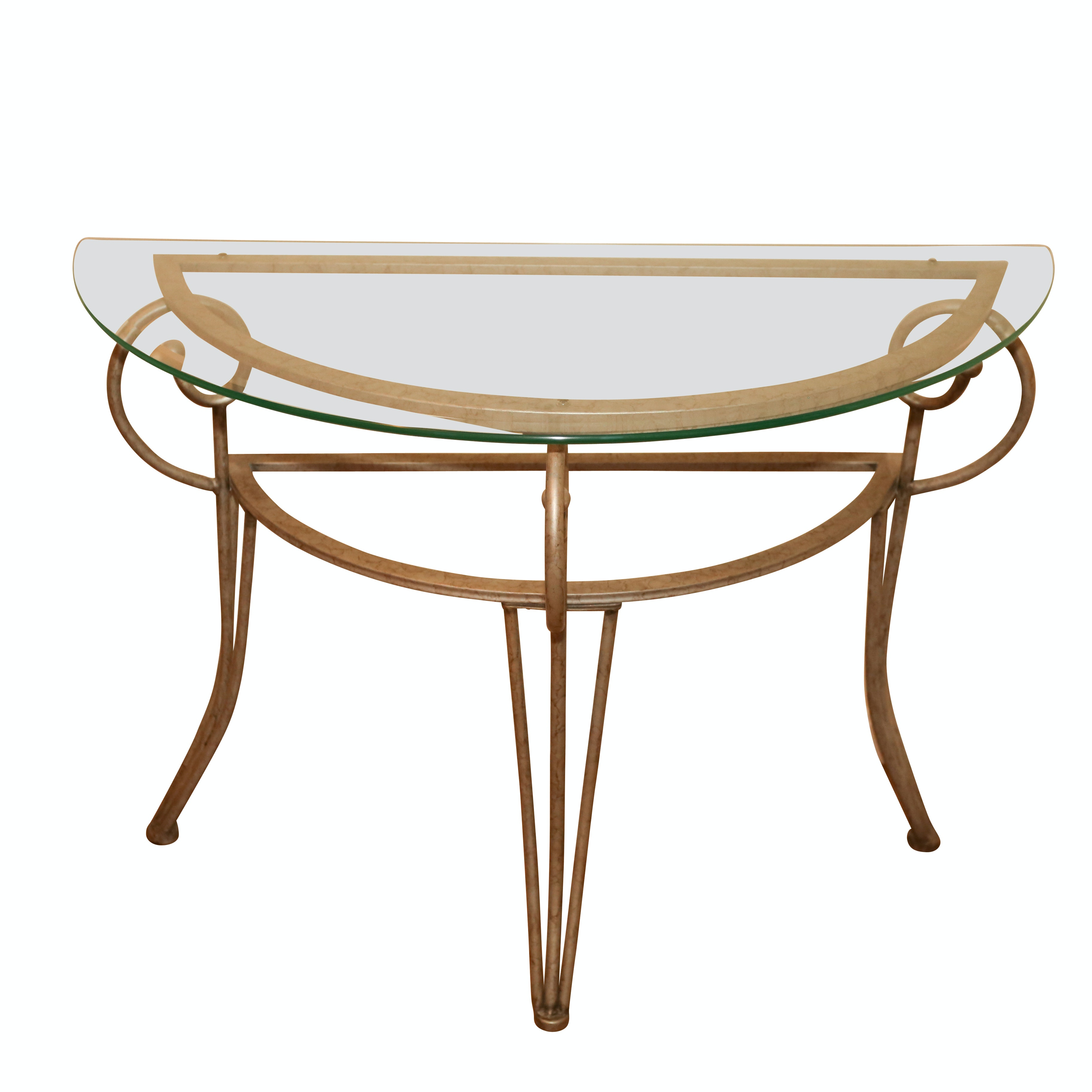 Hollywood Regency Style Painted Metal and Glass Demilune Entry Table, 21st C.