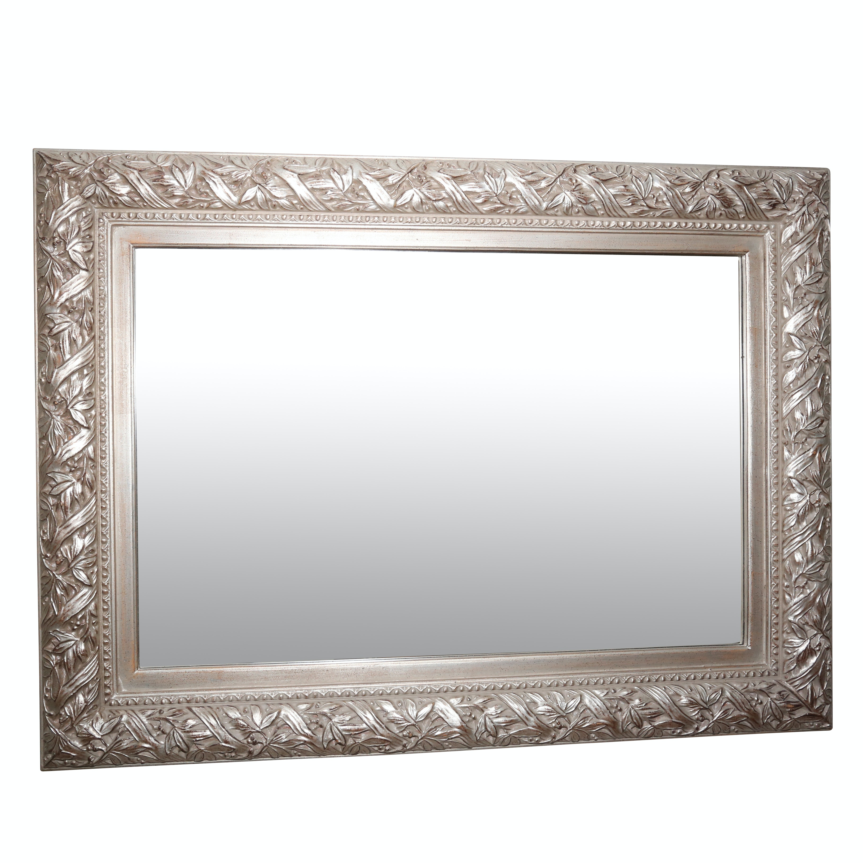 Silver-Toned Floral Motif Wood Framed Wall Mirror