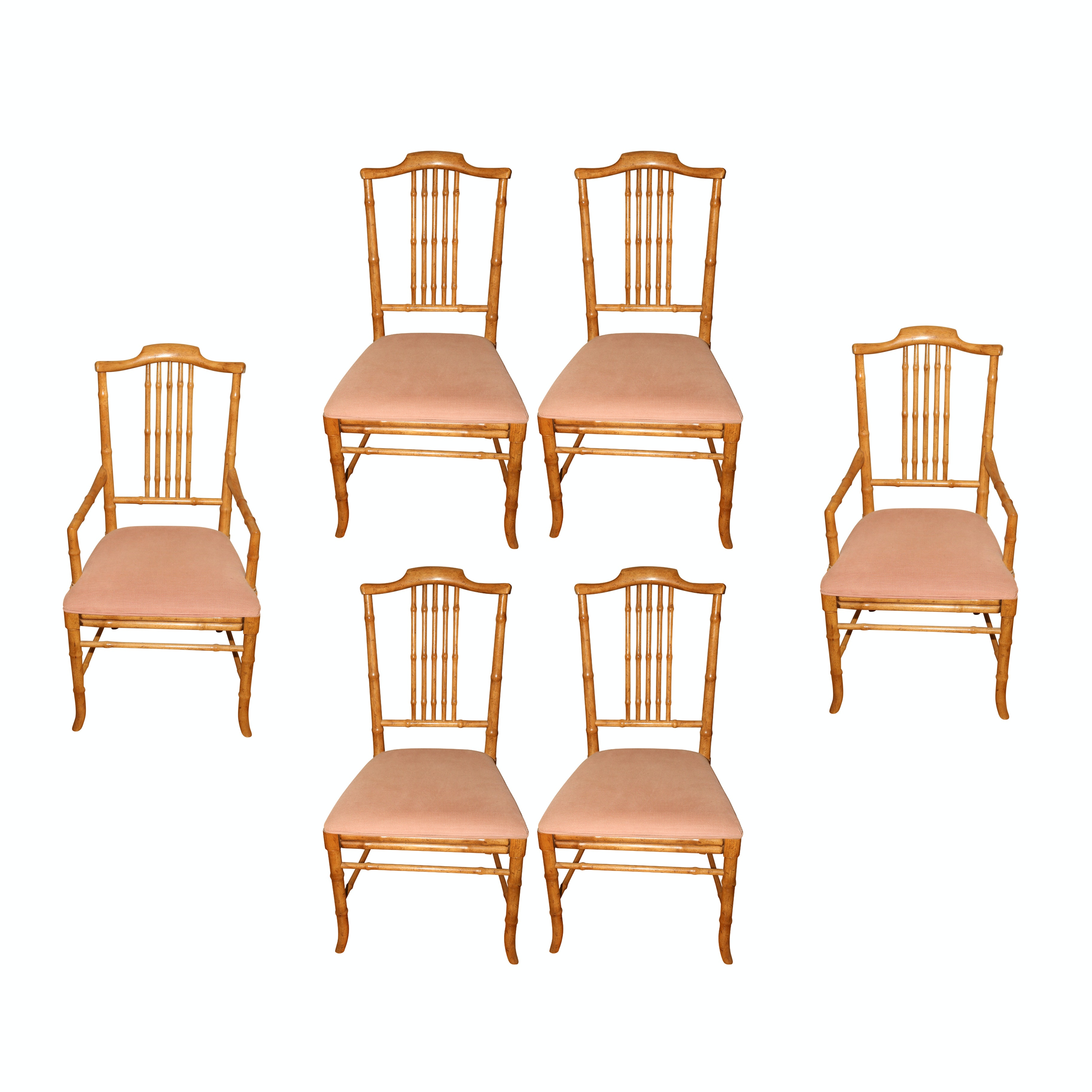 Captiva Collection Faux Bamboo Wood Dining Chairs by Drexel, Mid-20th Century
