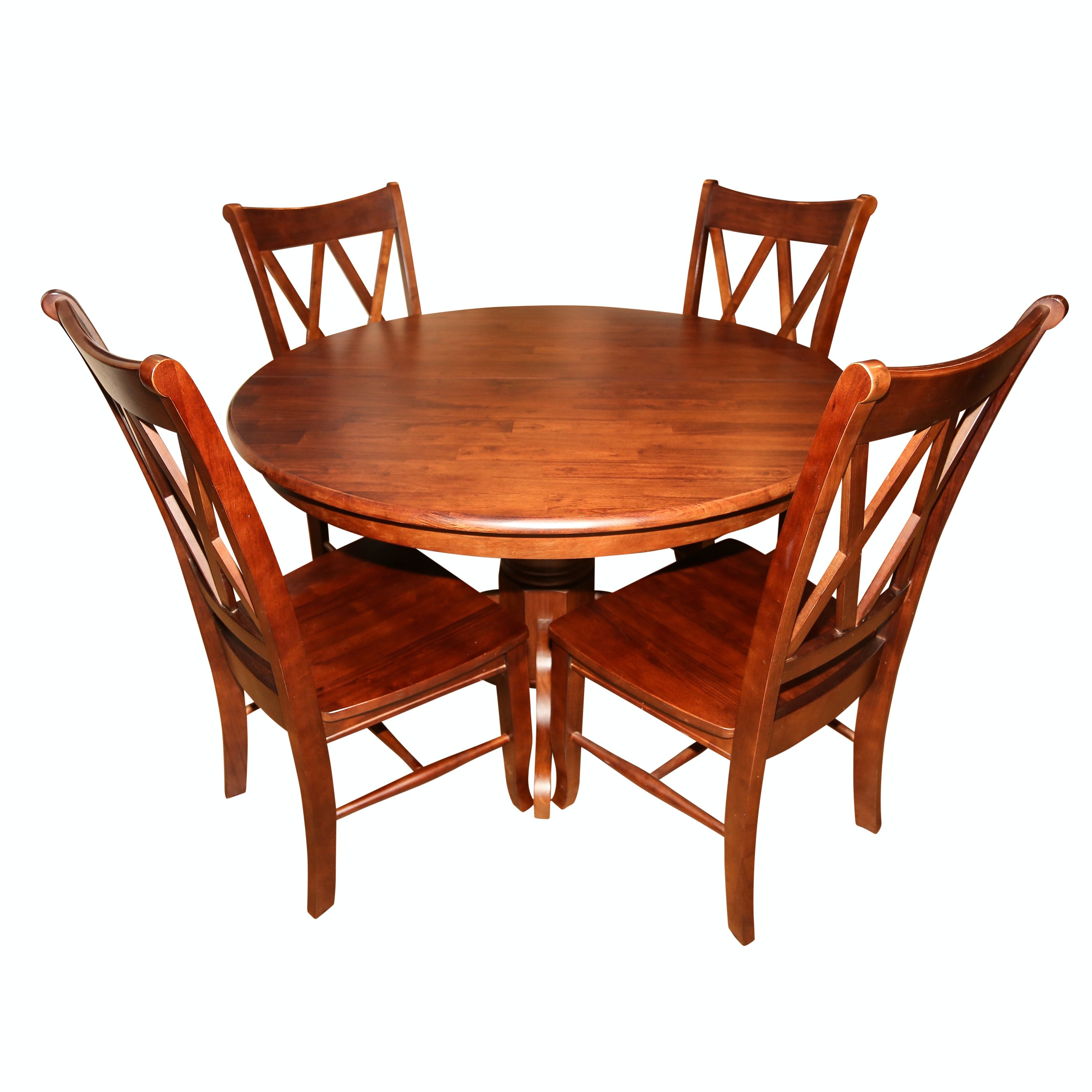 Stained Wooden Pedestal Table with Open Lattice Back Chairs, 21st Century