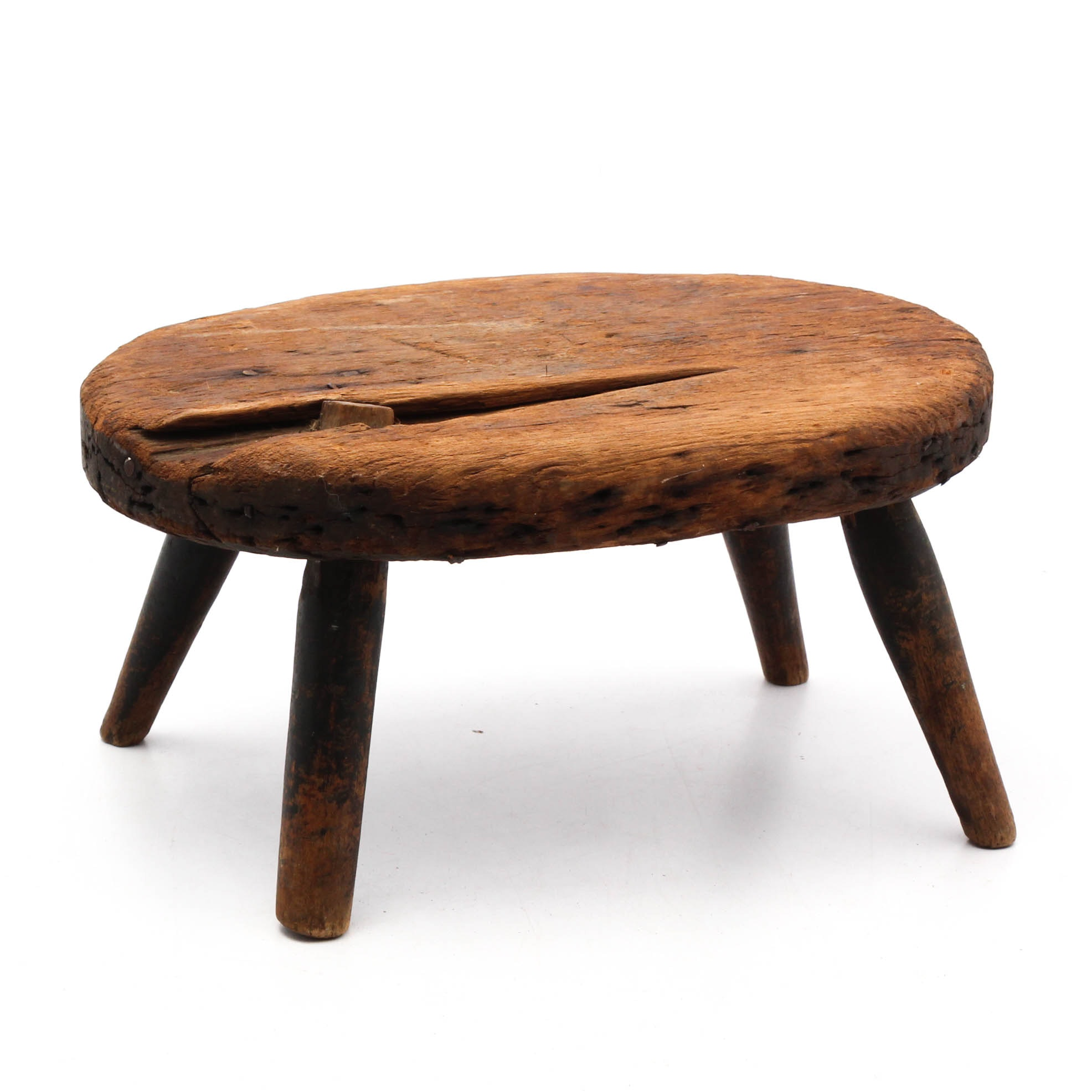 Antique Wooden Milking Stool, Late 19th Century