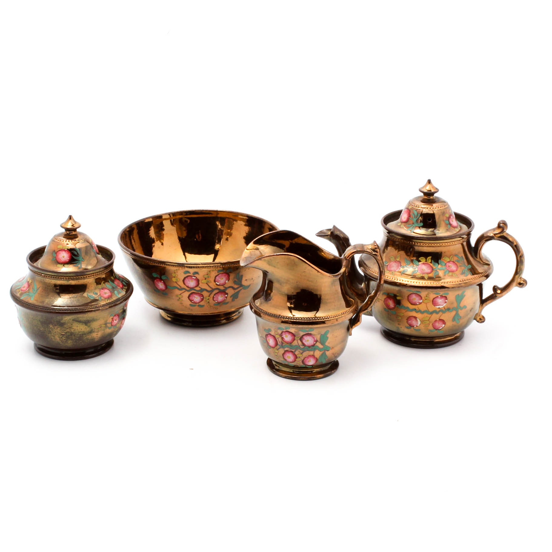 Hand-Painted Copper Luster Ceramic Tea Set with Bowl