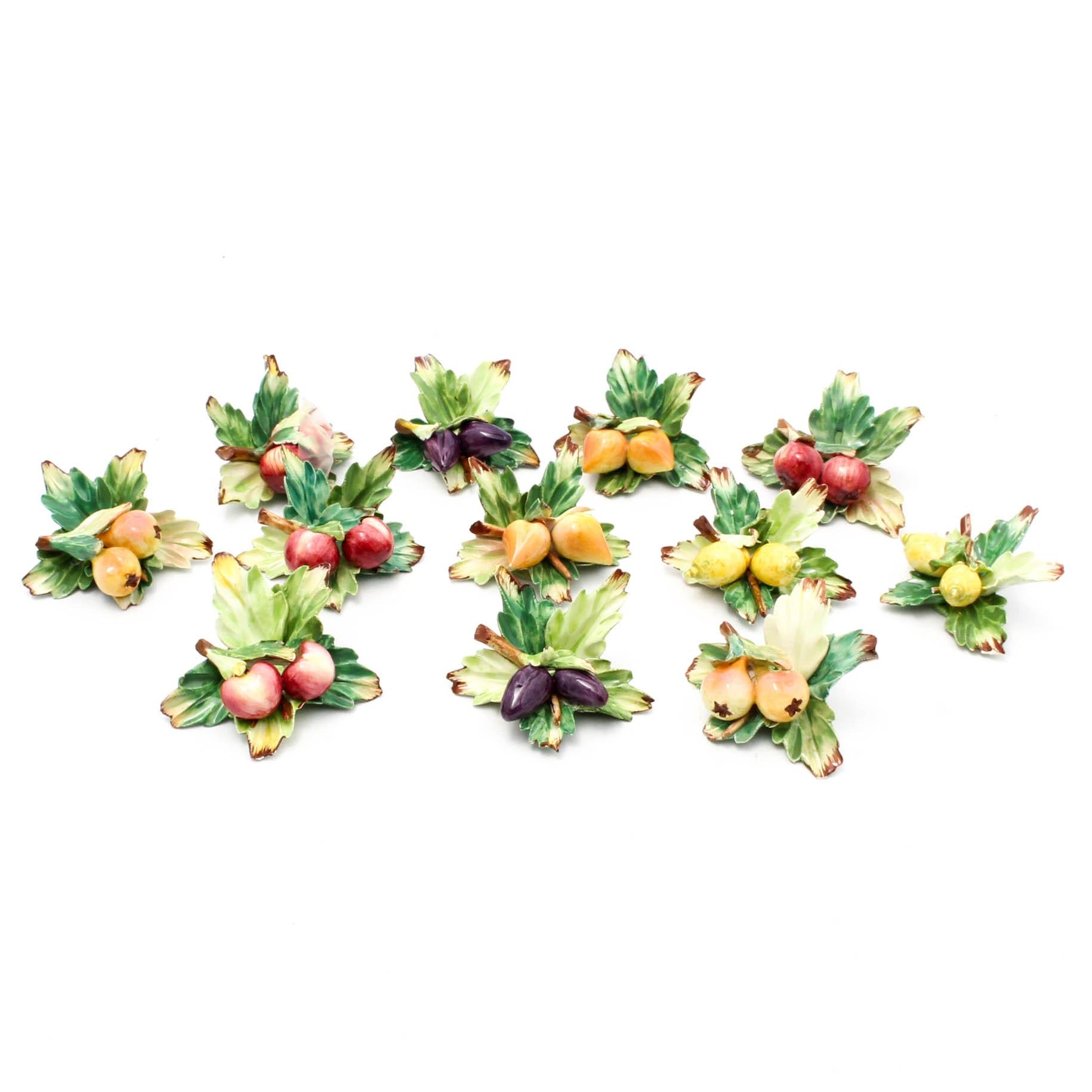 Italian Hand-Painted Porcelain Fruit Figurines