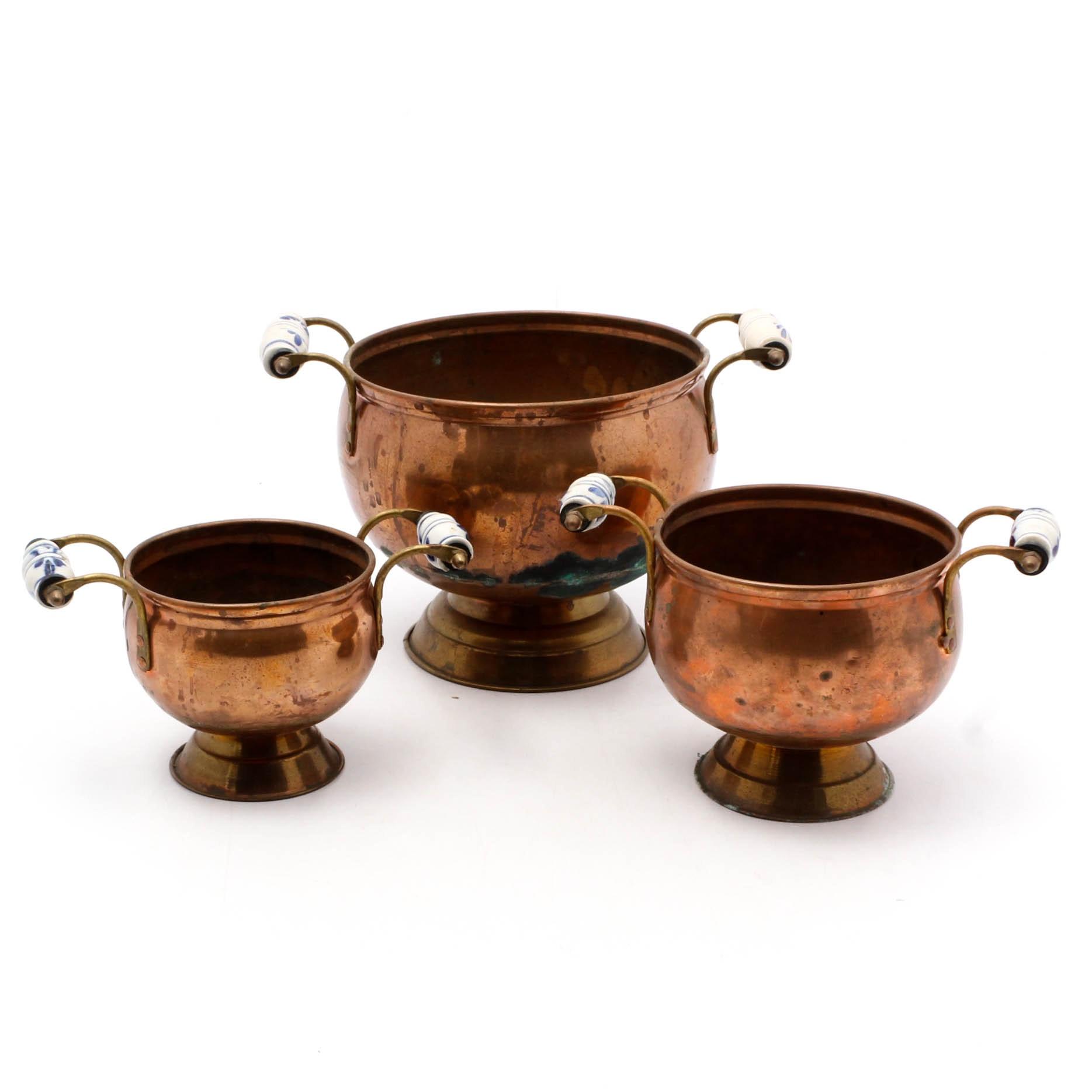 Antique Dutch Copper Footed Bowls with Porcelain Handles