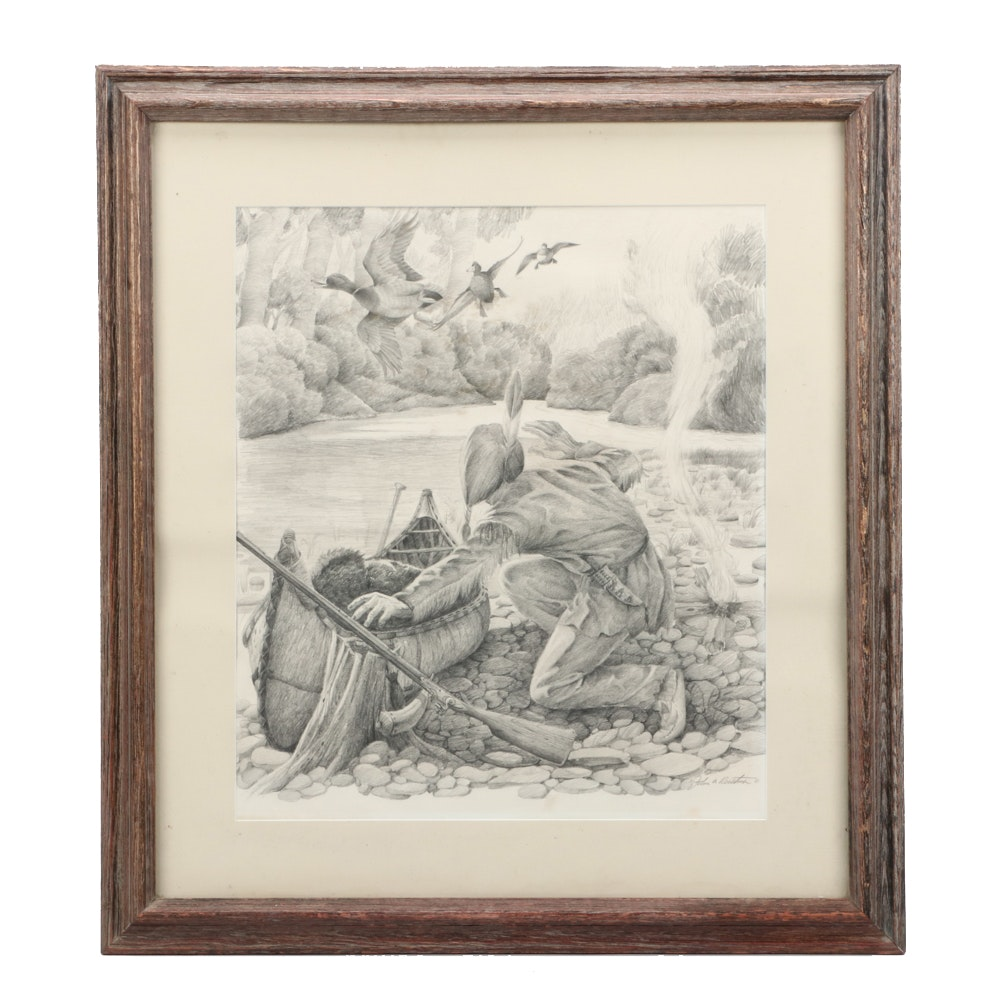 "John Ruthven Graphite Study Drawing ""Shawnee Indian"""