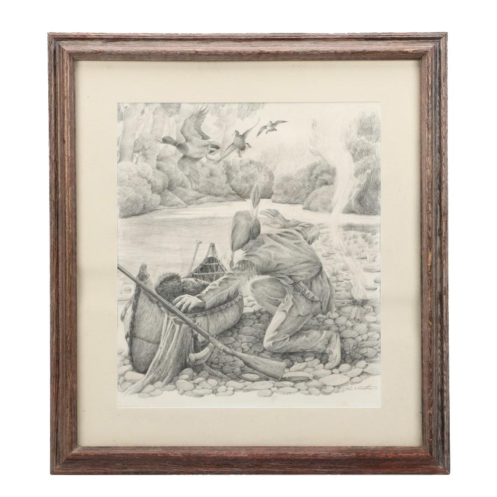 "Original John Ruthven Graphite Study Drawing ""Shawnee Indian"""