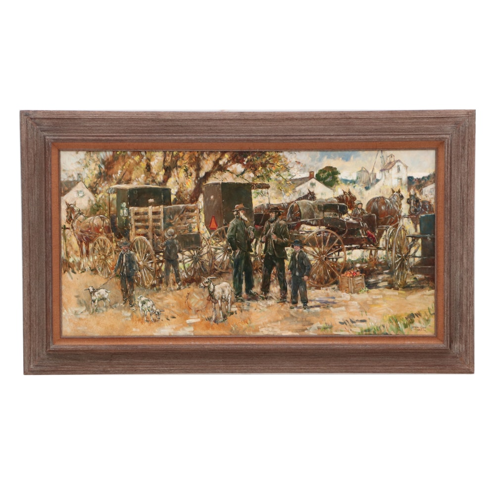 Leslie Cope Oil Painting of an Amish Genre Scene
