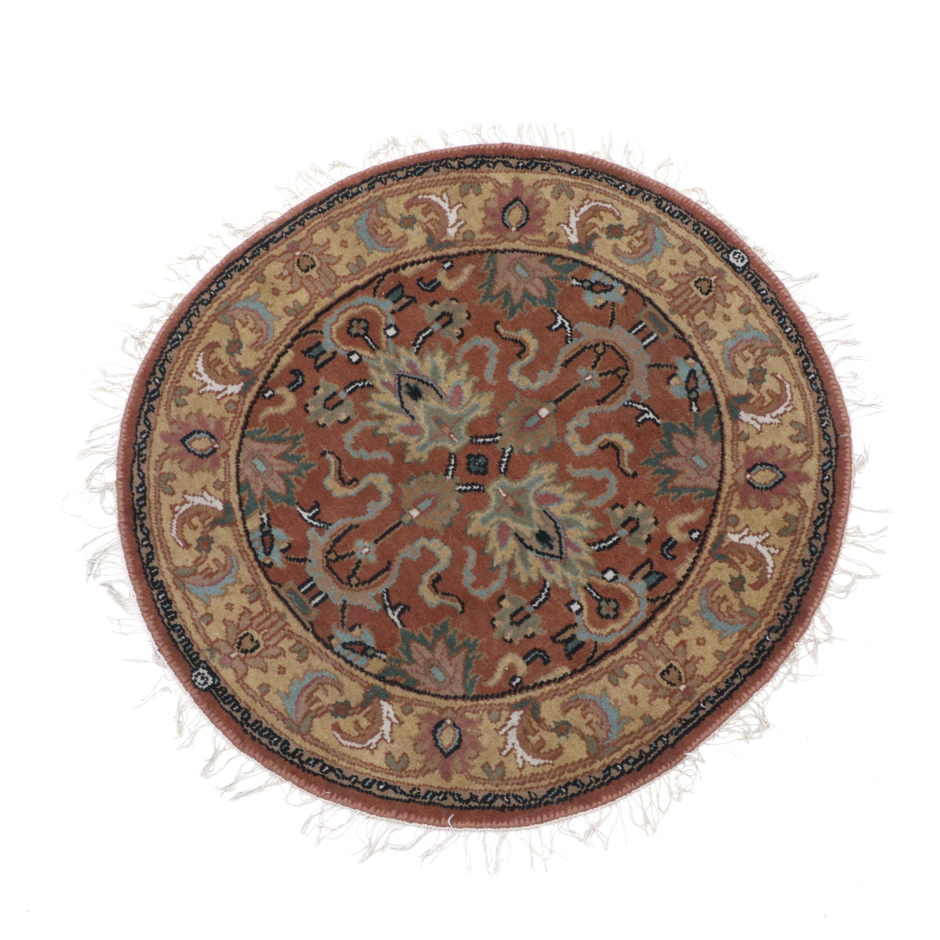 Hand-Knotted Indo-Persian Round Accent Rug