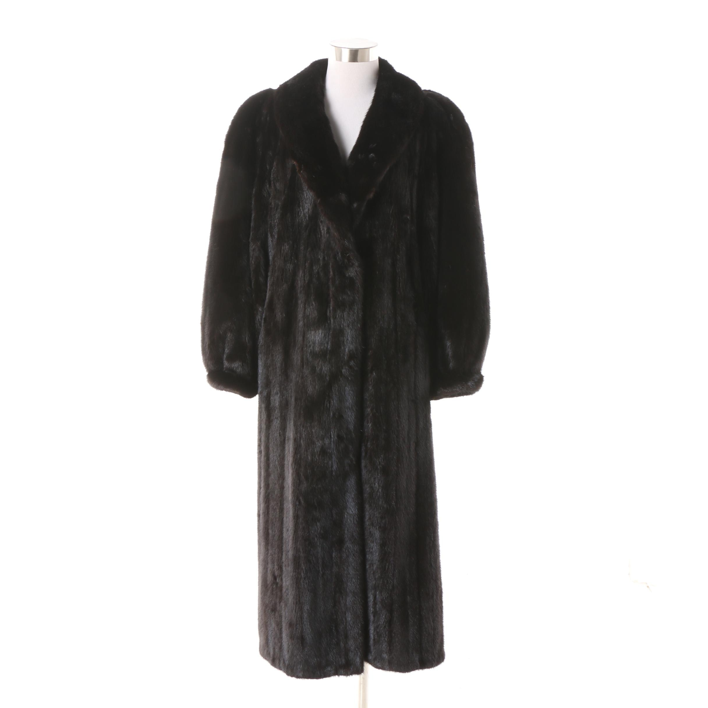 Women's Vintage Black Mink Fur Full-Length Coat