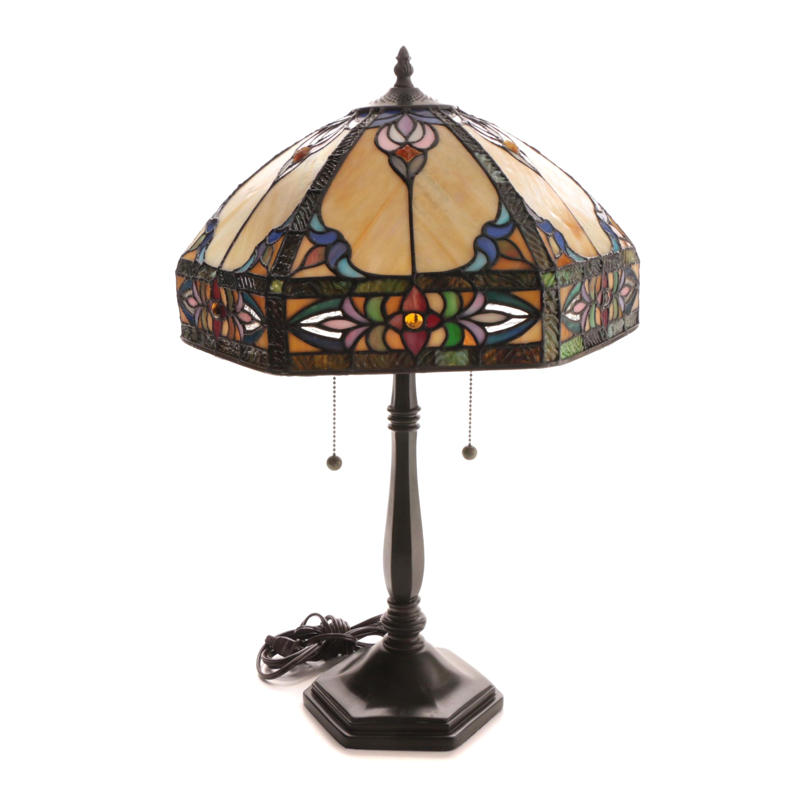 Cast Metal Table Lamp with Stained and Slag Glass Shade