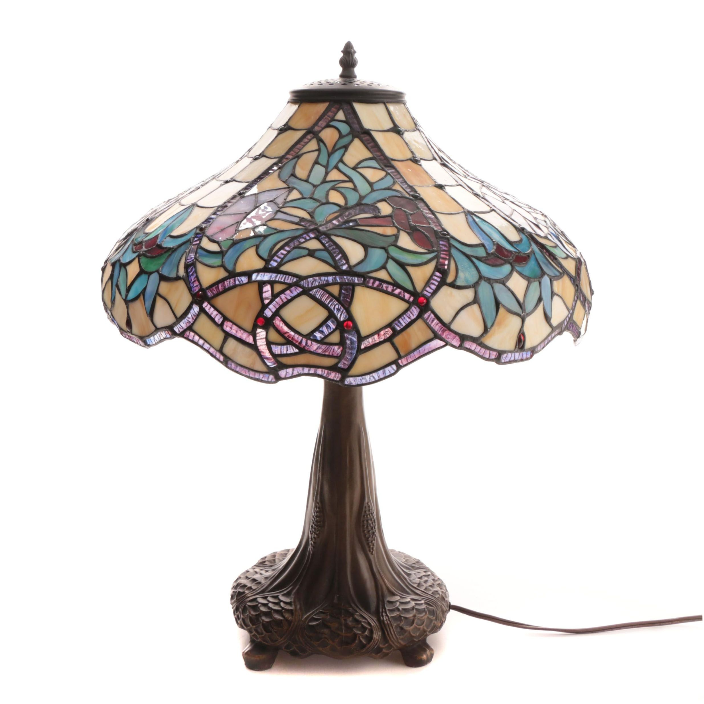 Cast Metal Table Lamp with Slag and Stained Glass Shade