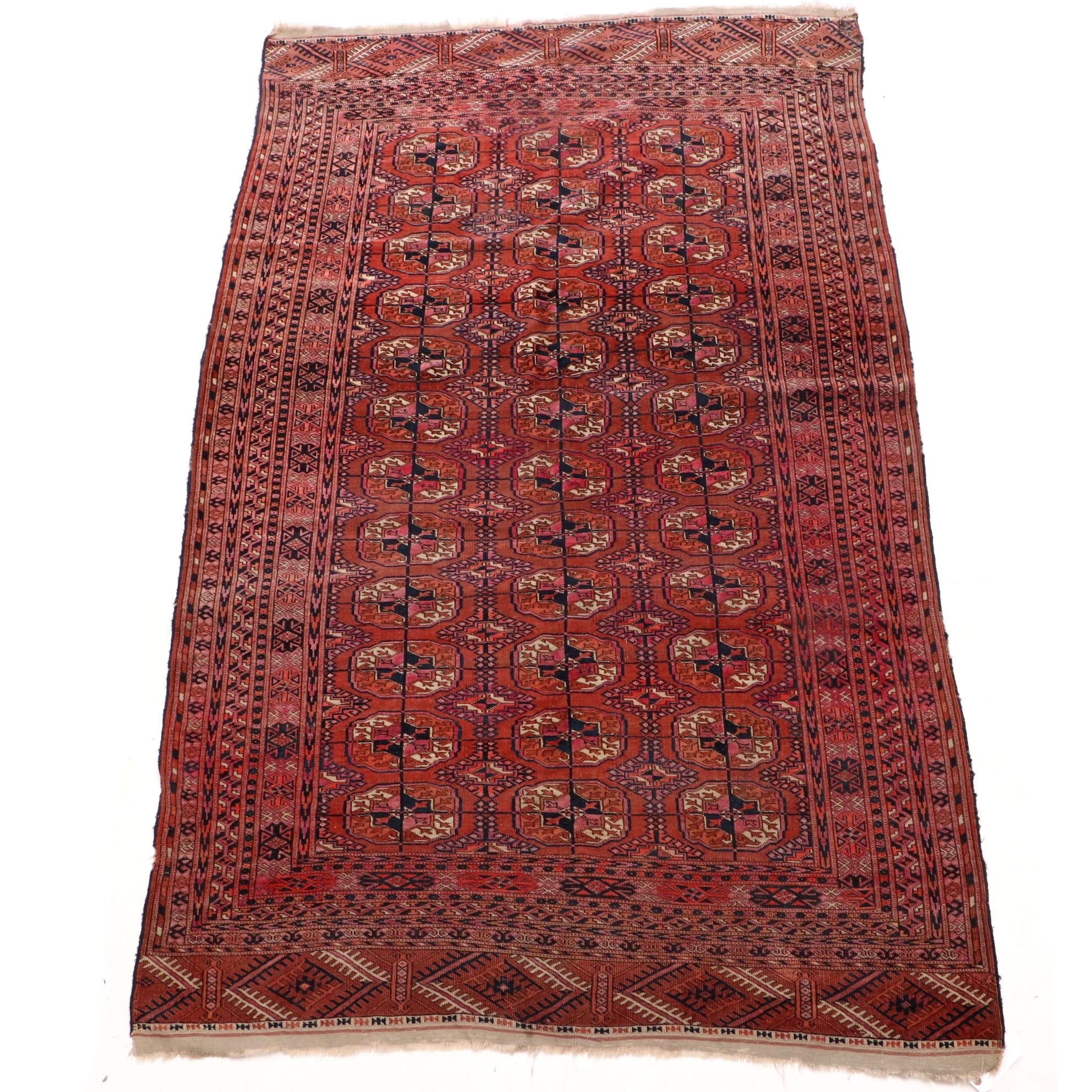 Semi-Antique Hand-Knotted Turkmen Wool Area Rug
