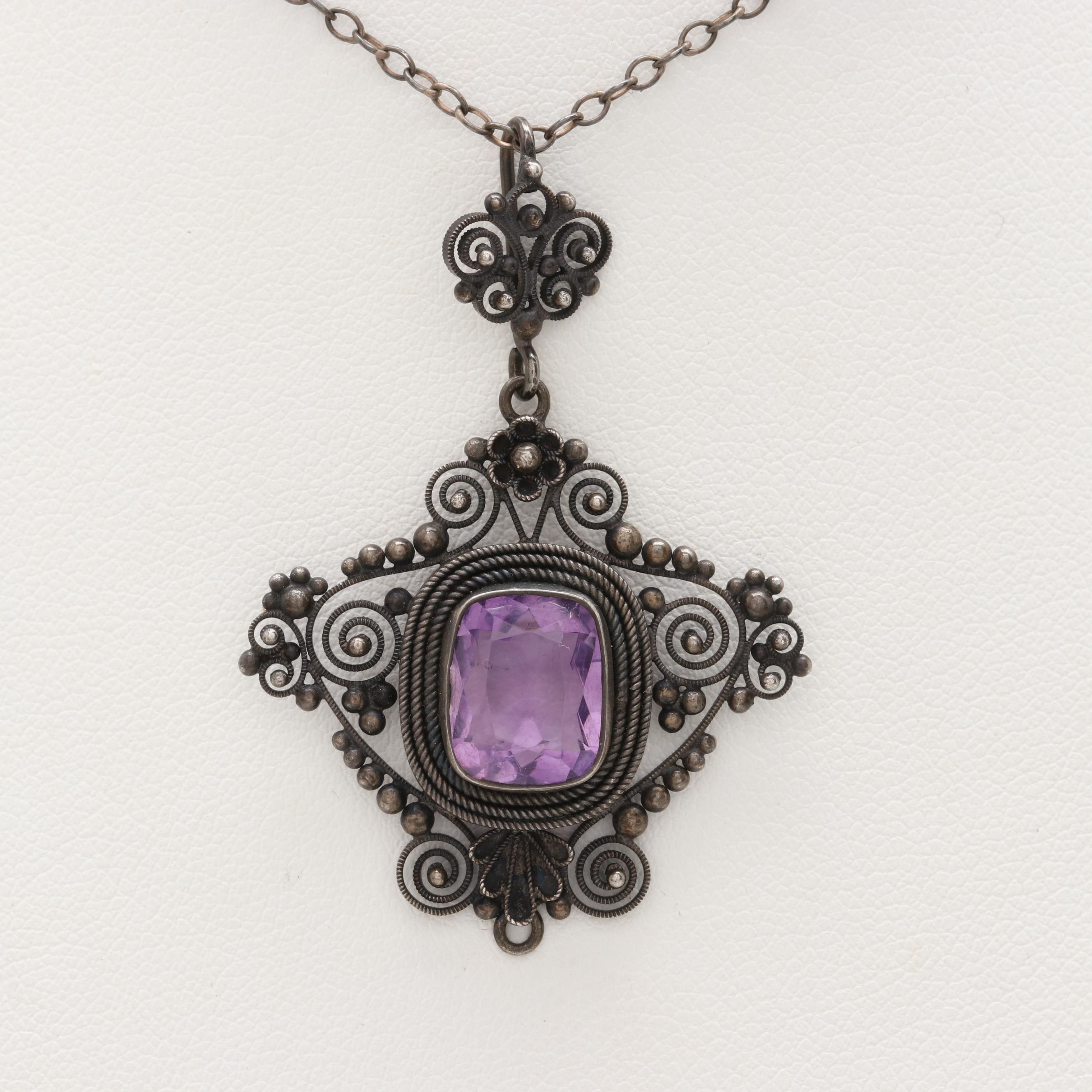 Antique 900 Silver Amethyst Necklace