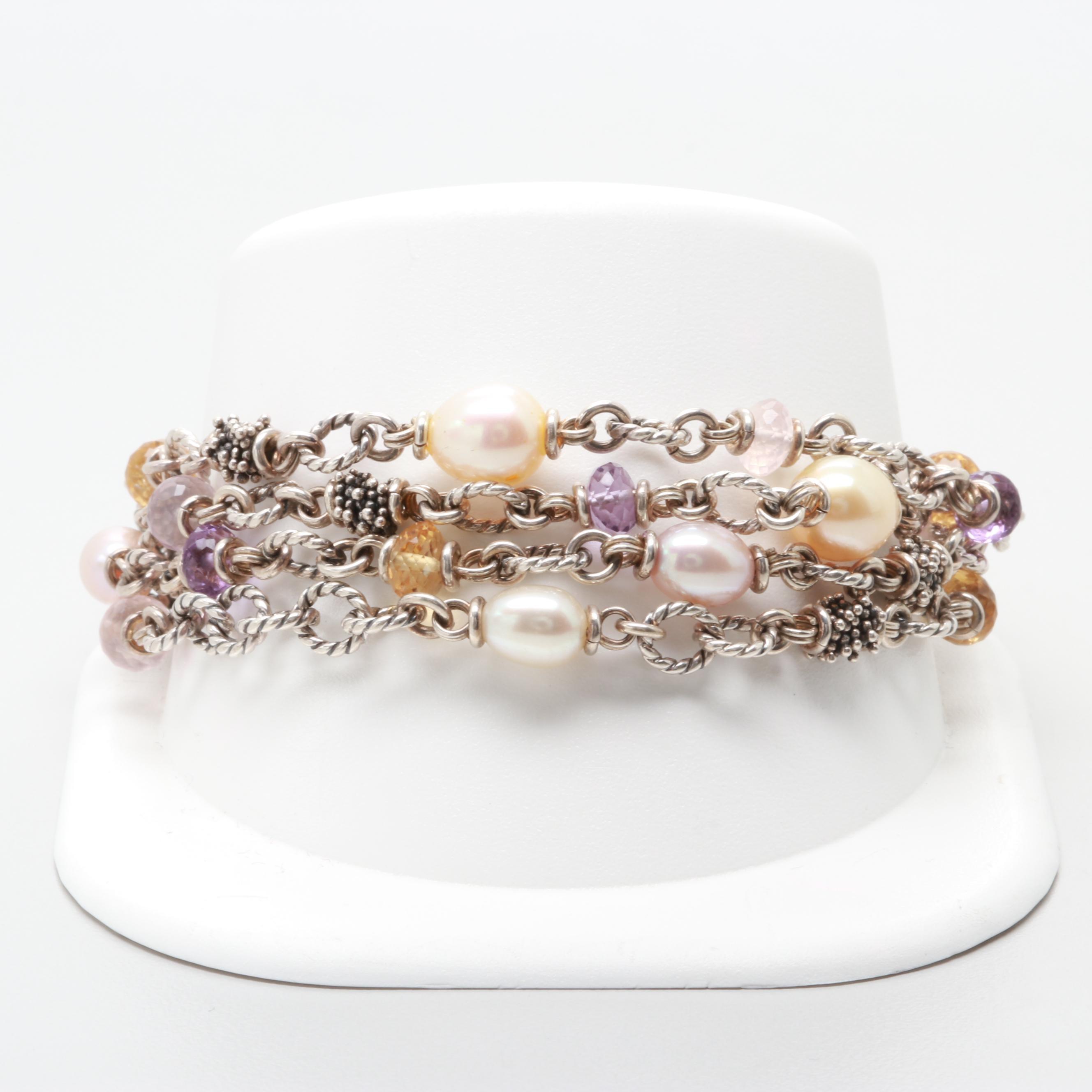Michael Dawkins Sterling Silver Cultured Pearl, Amethyst and Quartz Bracelet