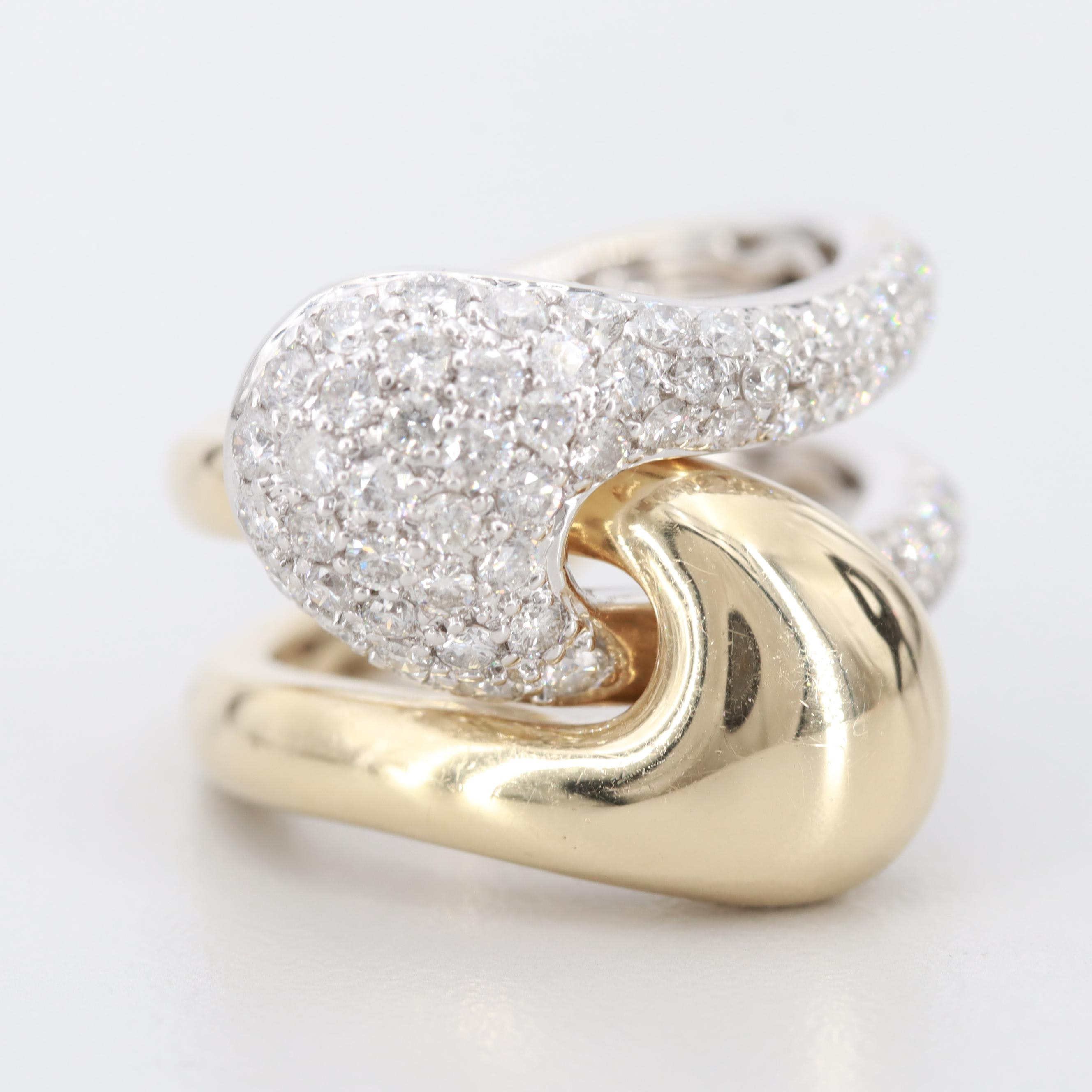 14K White and Yellow Gold 1.00 CTW Diamond Interlocking Puzzle Ring