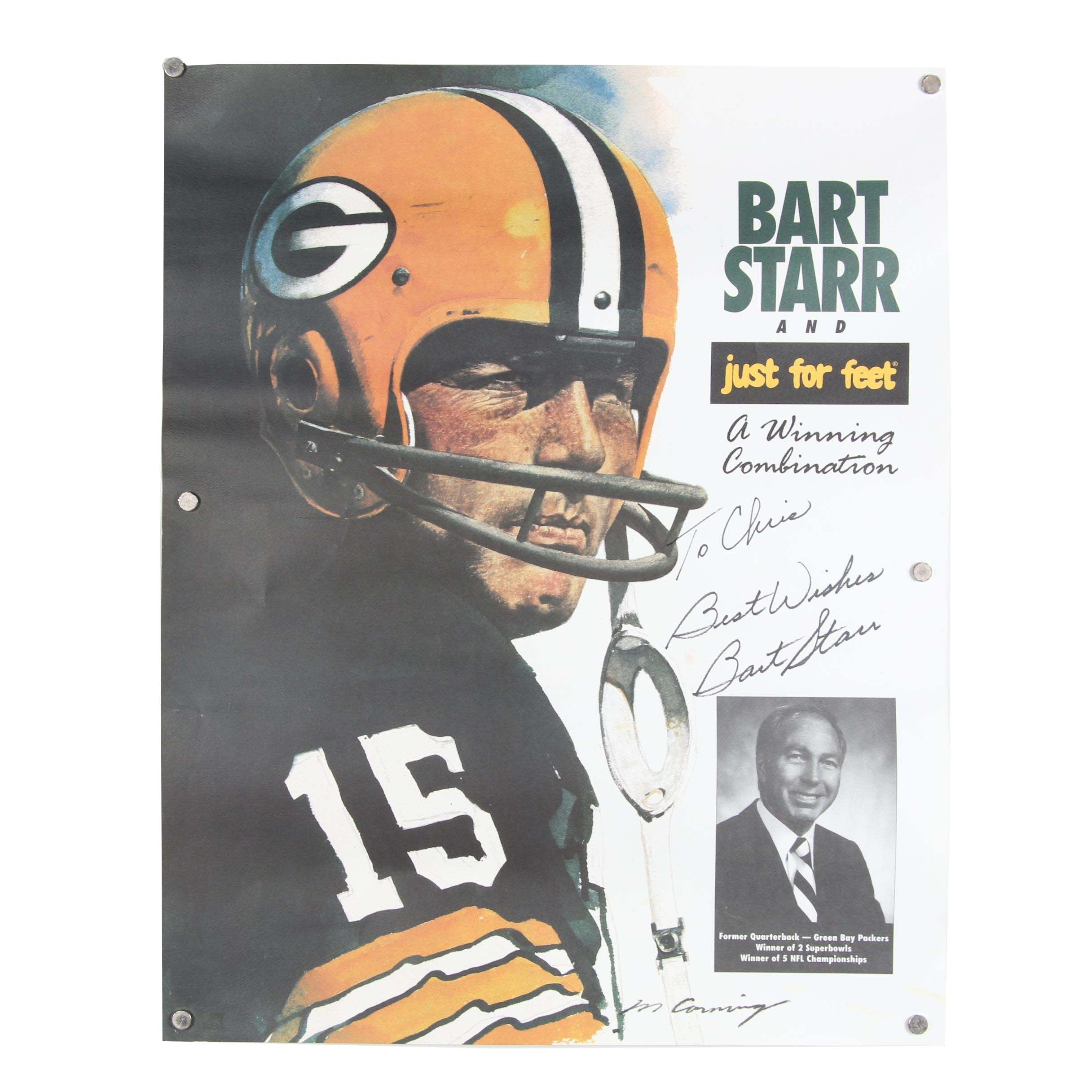 "Bart Starr Autographed ""Just For Feet"" Advertisement Poster"