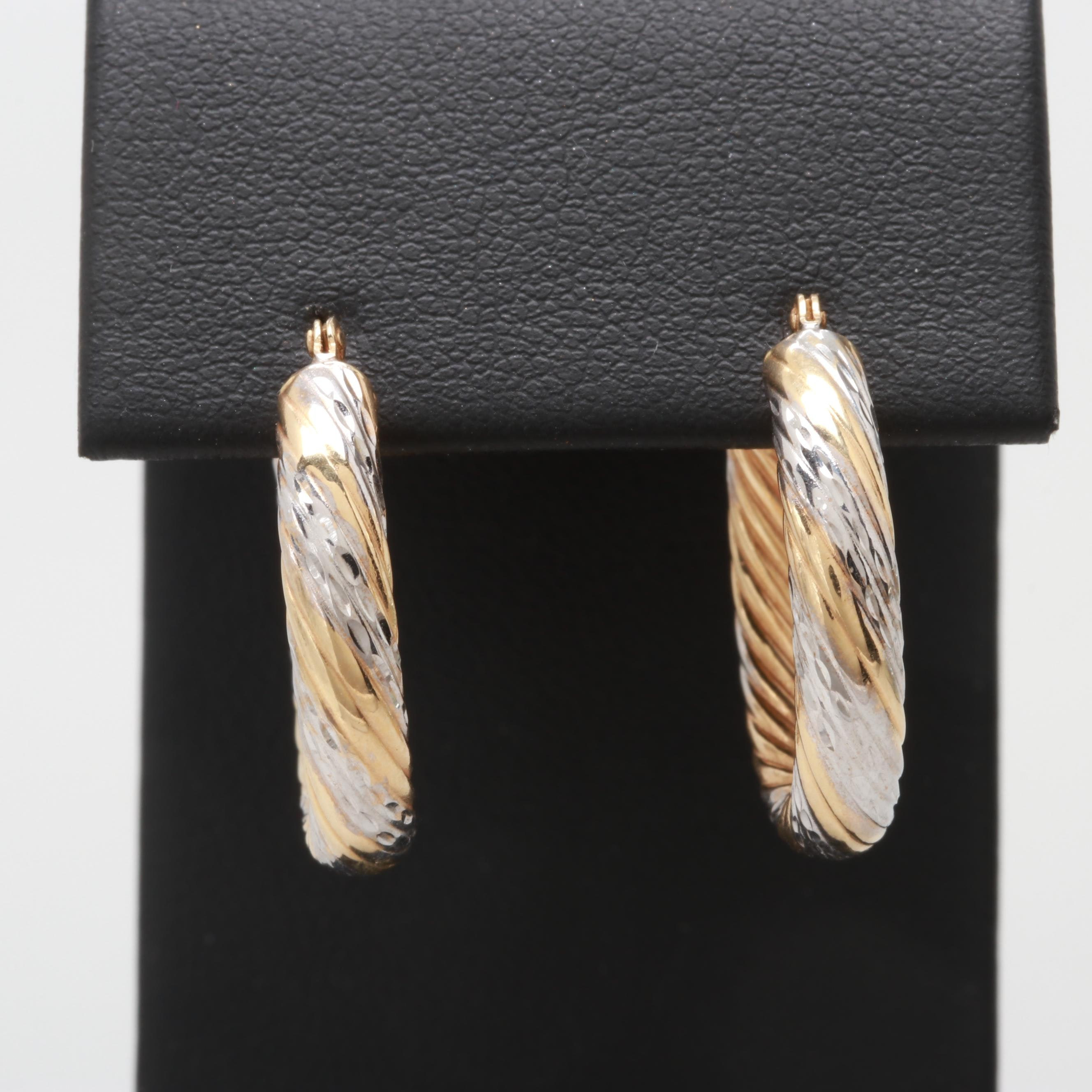 14K Yellow and White Gold Twist Textured Hoop Earrings