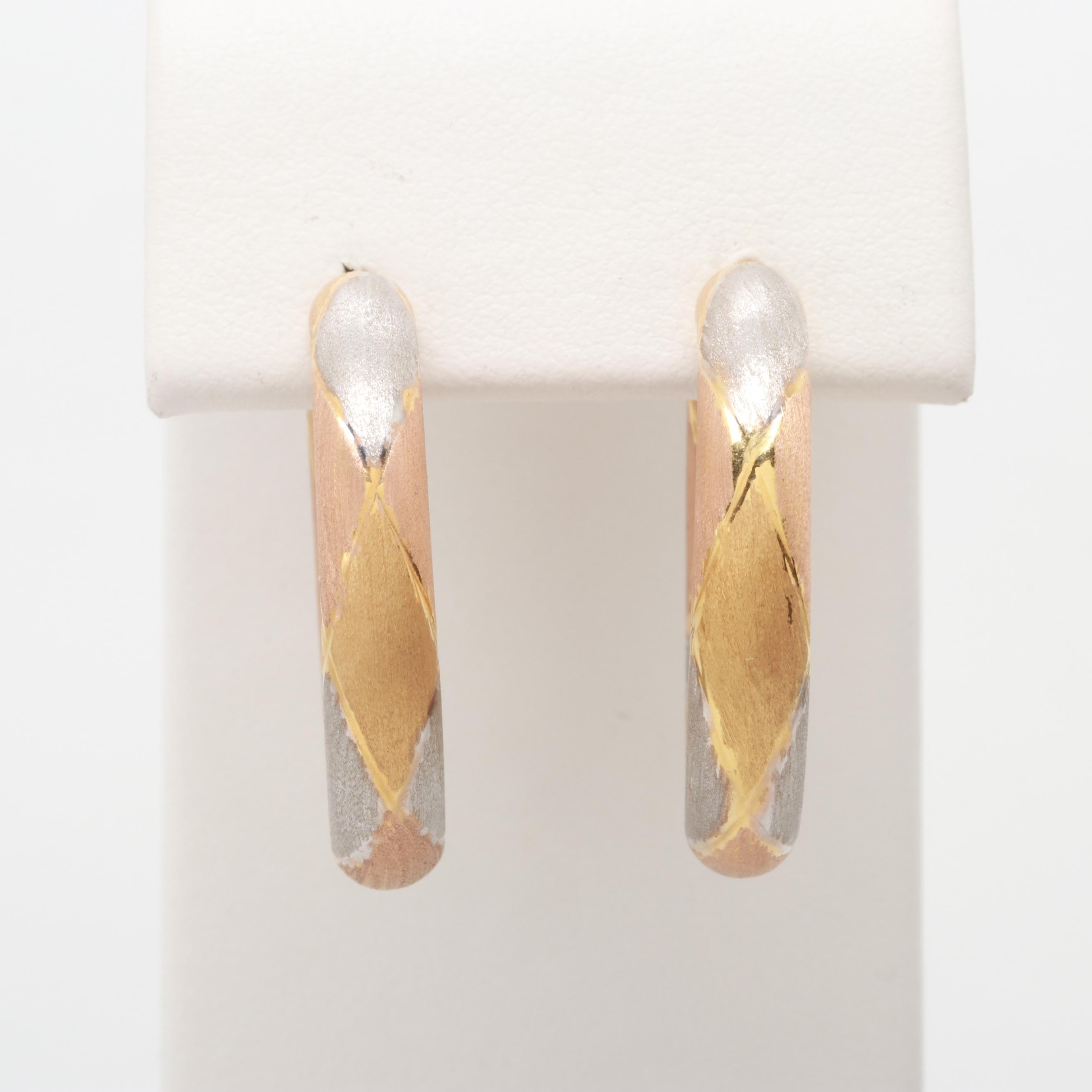 14K Yellow, Rose, and White Gold Hoop Earrings