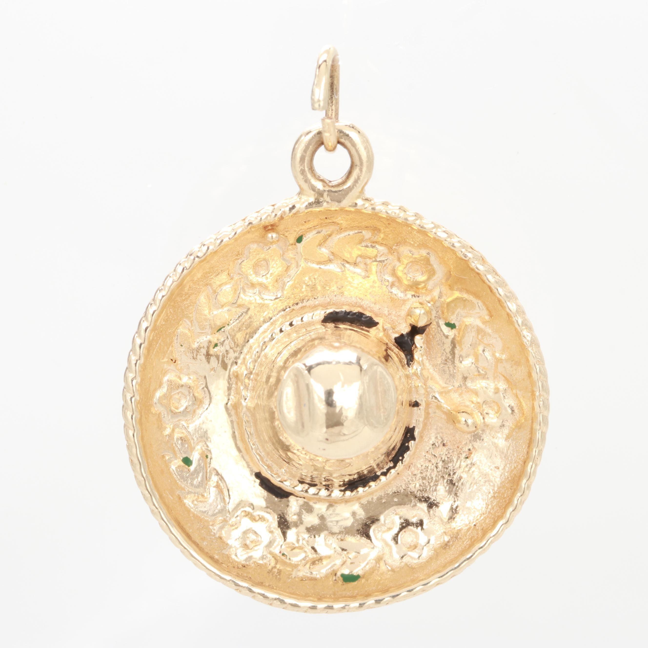 14K Yellow Gold Sombrero Charm