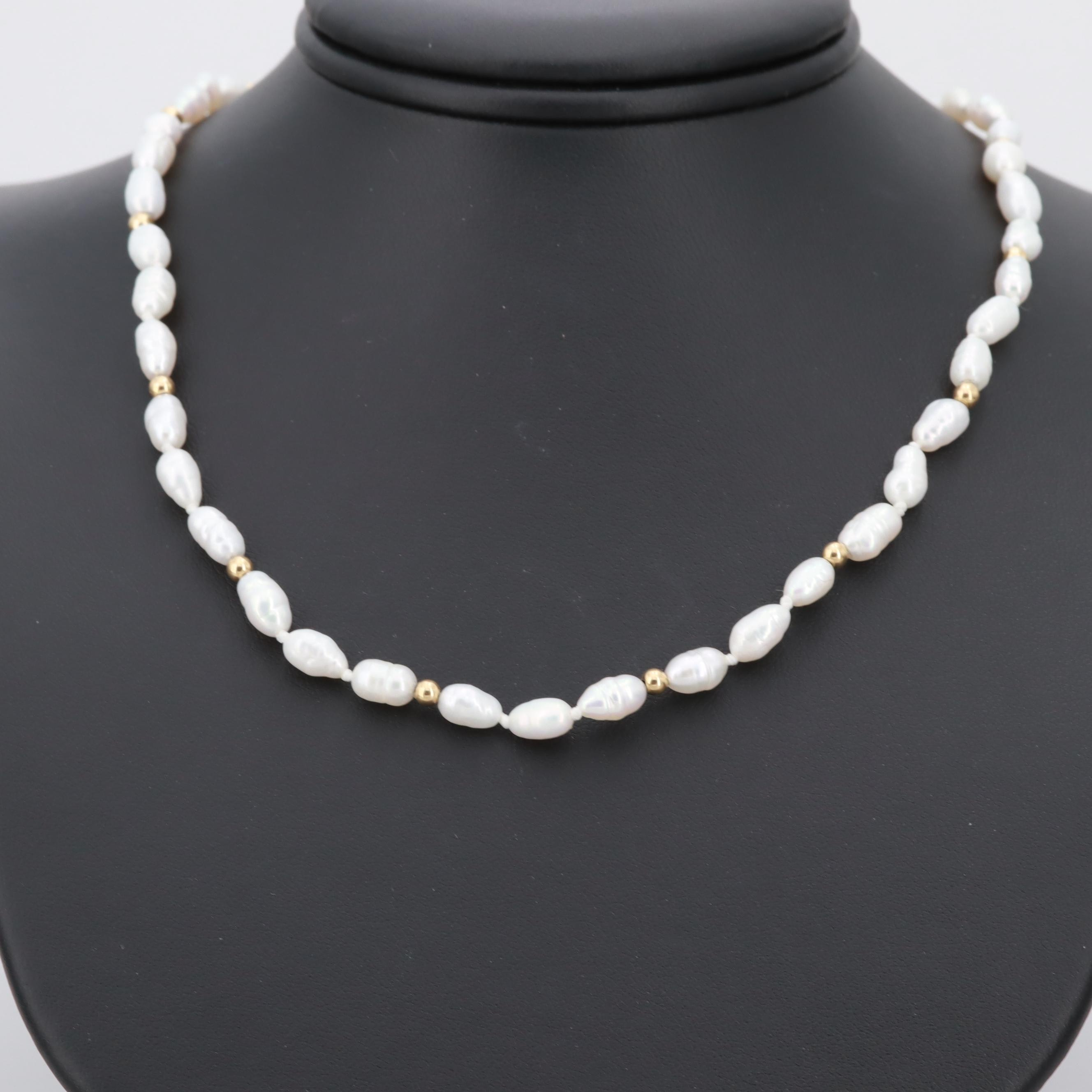 14K Yellow Gold Cultured Rice Pearl Necklace