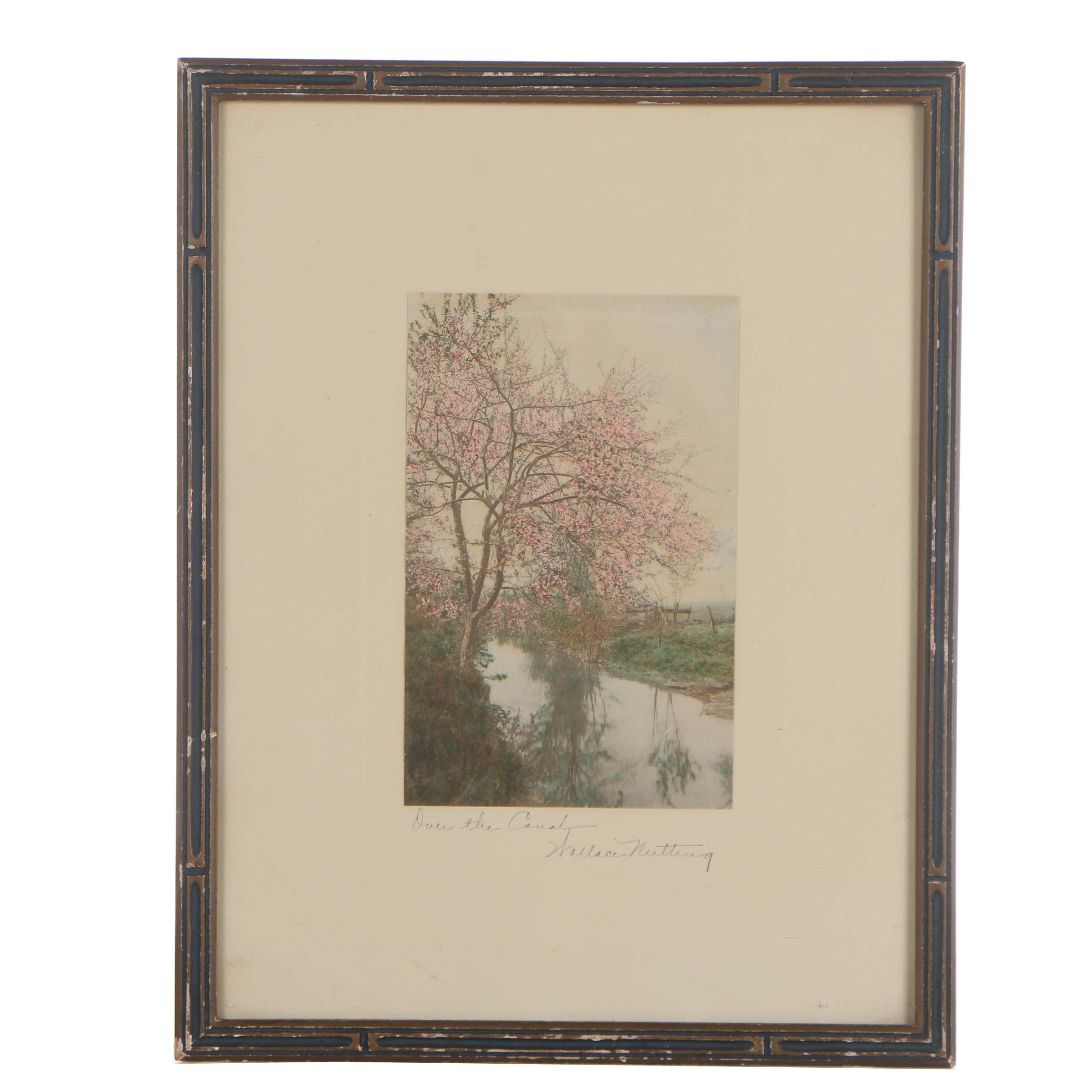 """Wallace Nutting Hand Painted Photograph """"Over The Canal"""""""