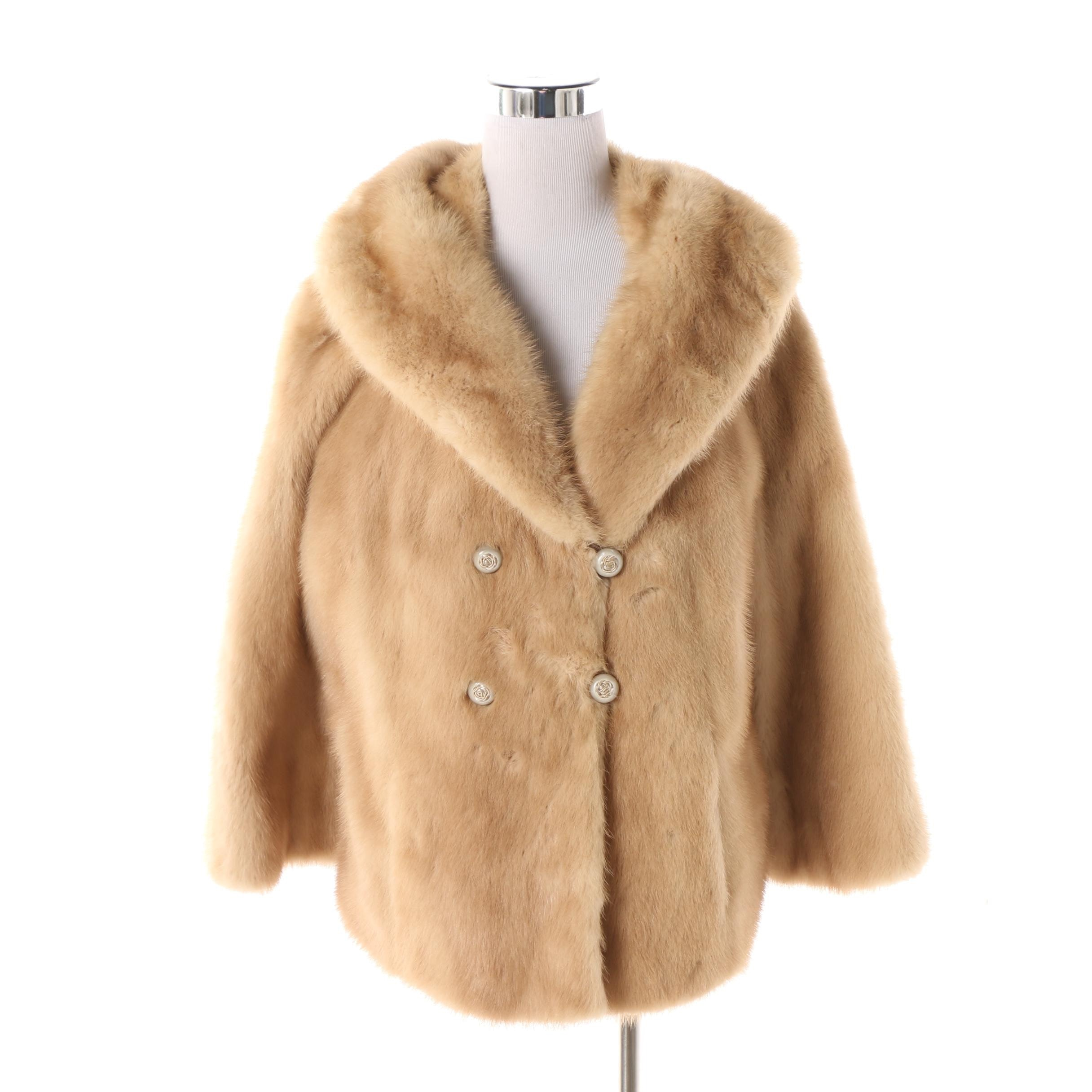 Vintage Hutzler's Baltimore Blonde Mink Fur Double-Breasted Jacket