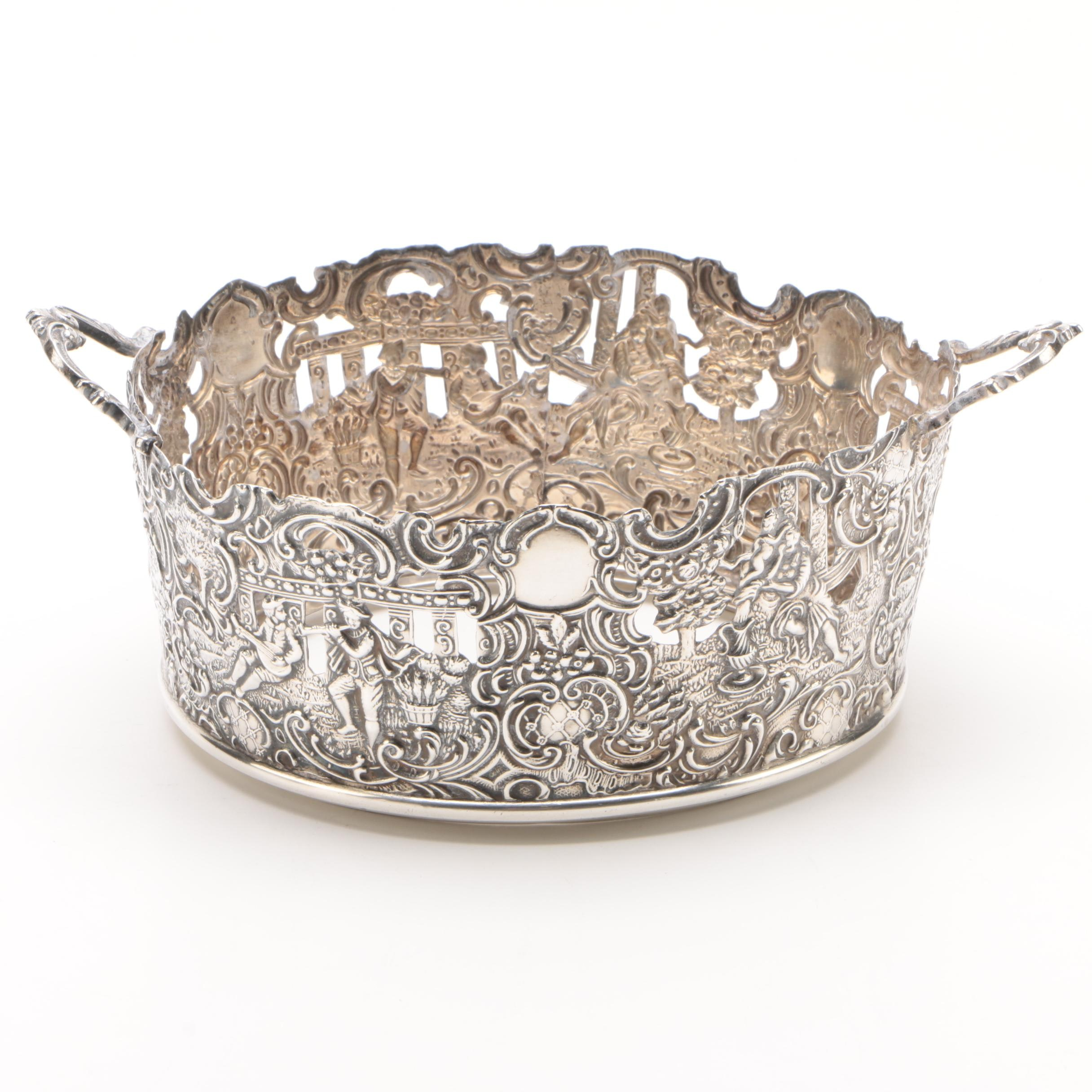 Brand-Hier Co. Sterling Openwork Repoussé Two-Handled Basket, Early 20th Century