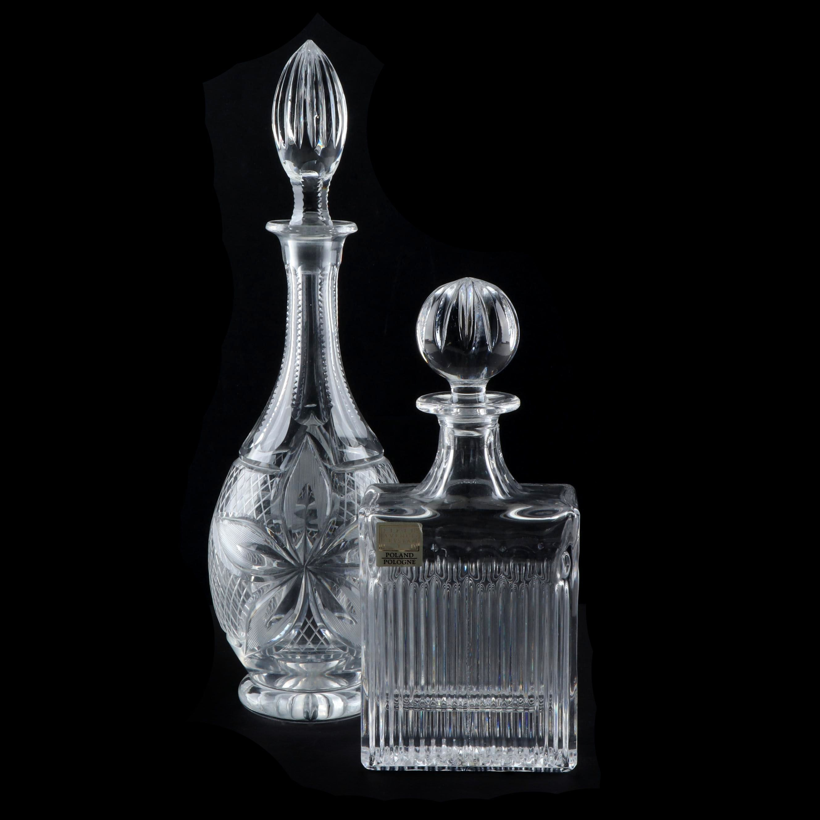 Tapered and Block Shape Crystal Wine Decanters including Fifth Avenue Crystal