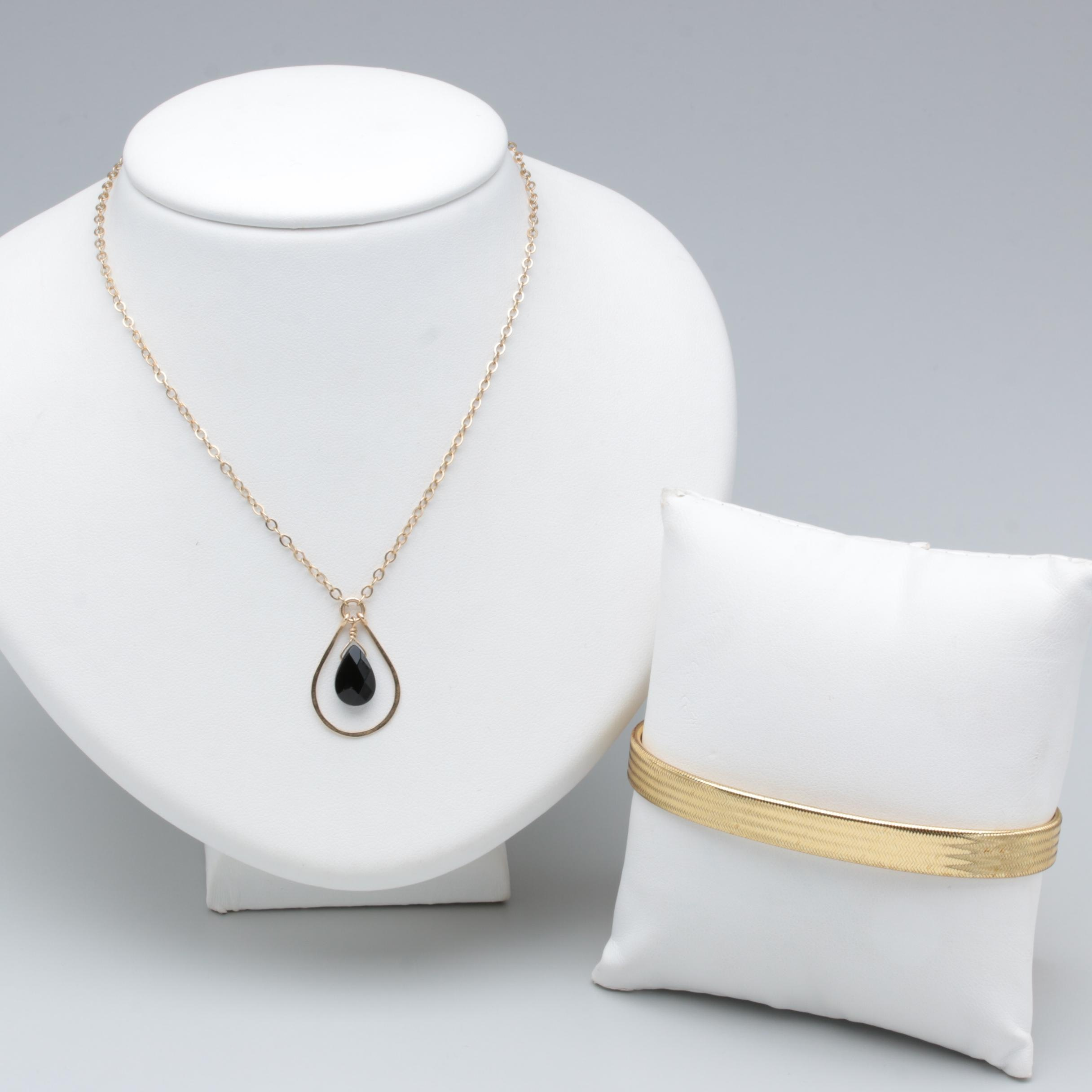 Gold Tone Glass Necklace and Bracelet Including 14K Gold Accent