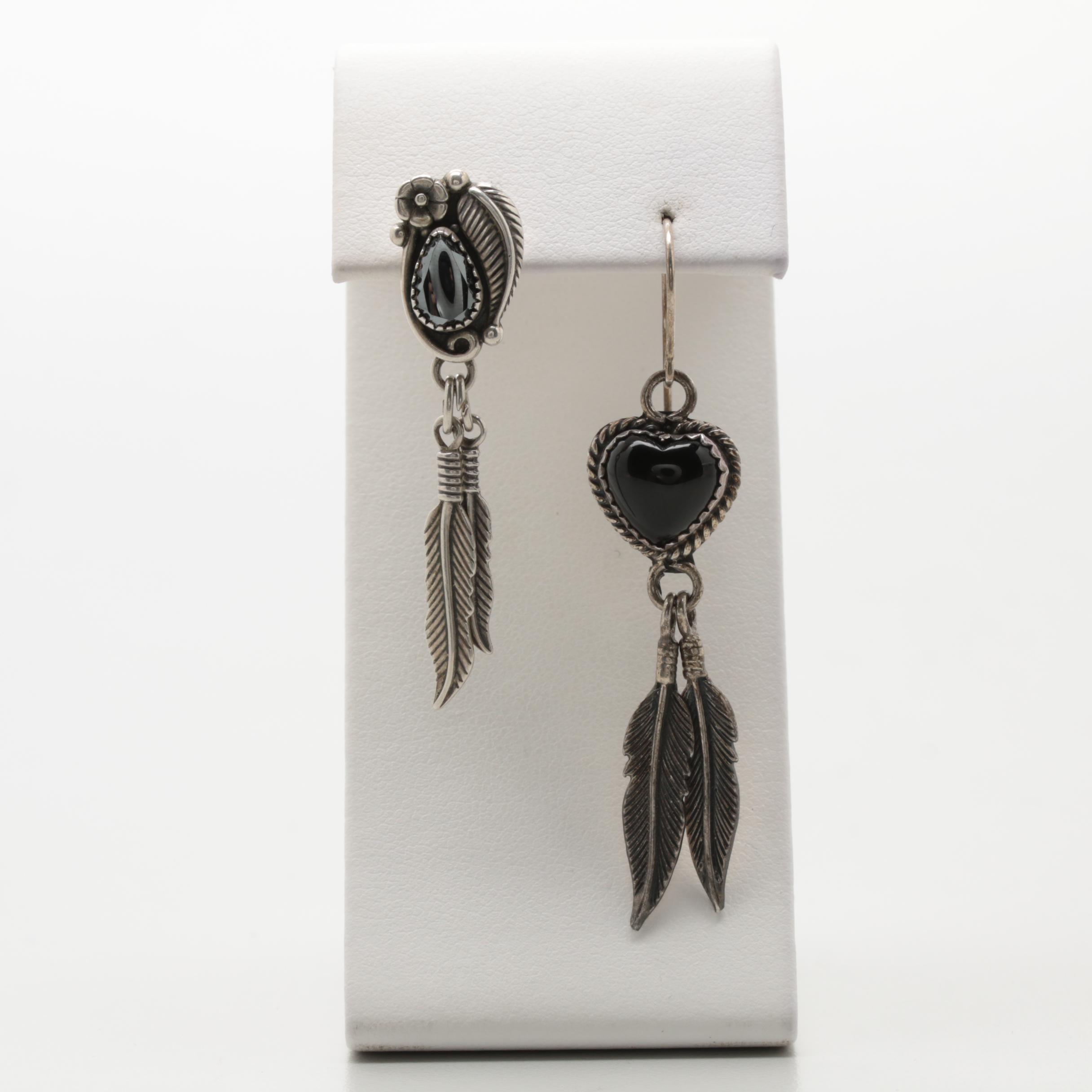 Sterling Silver Black Onyx Heart Earrings