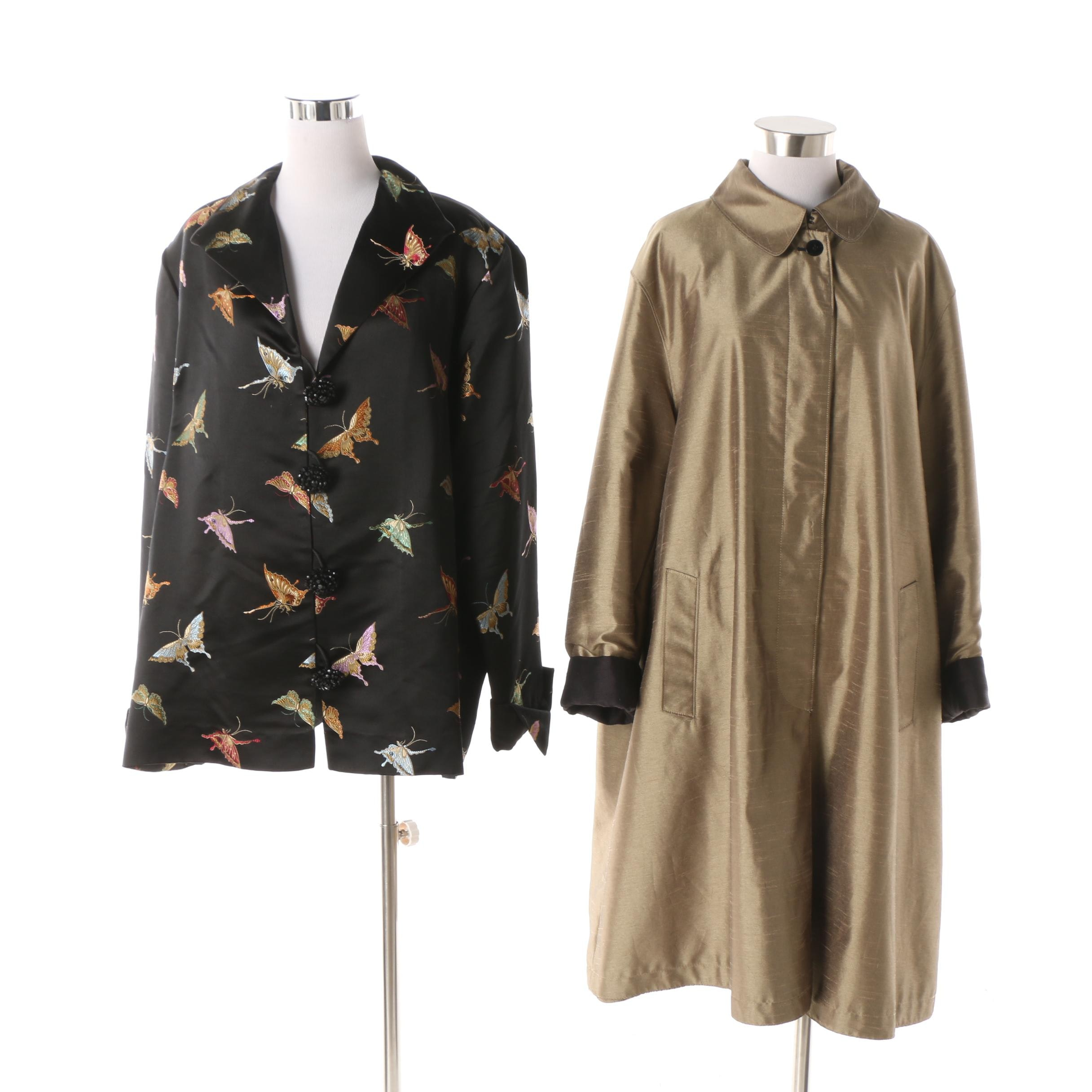 Avenue Fashions Butterfly Embroidered Jacket and Unlabeled Reversible Coat