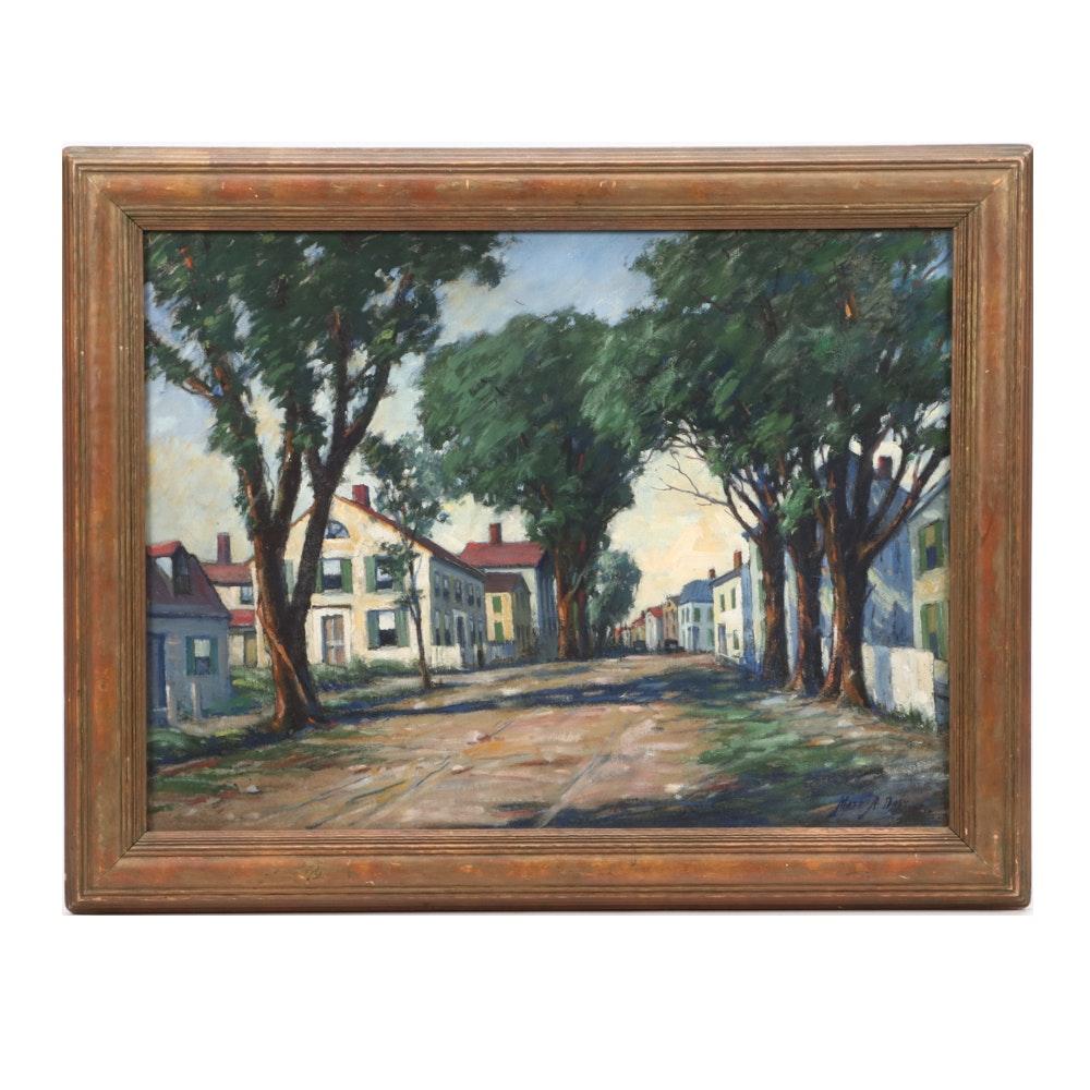 Matt Daly Oil Painting of Village Scene from Rockport, Massachusetts