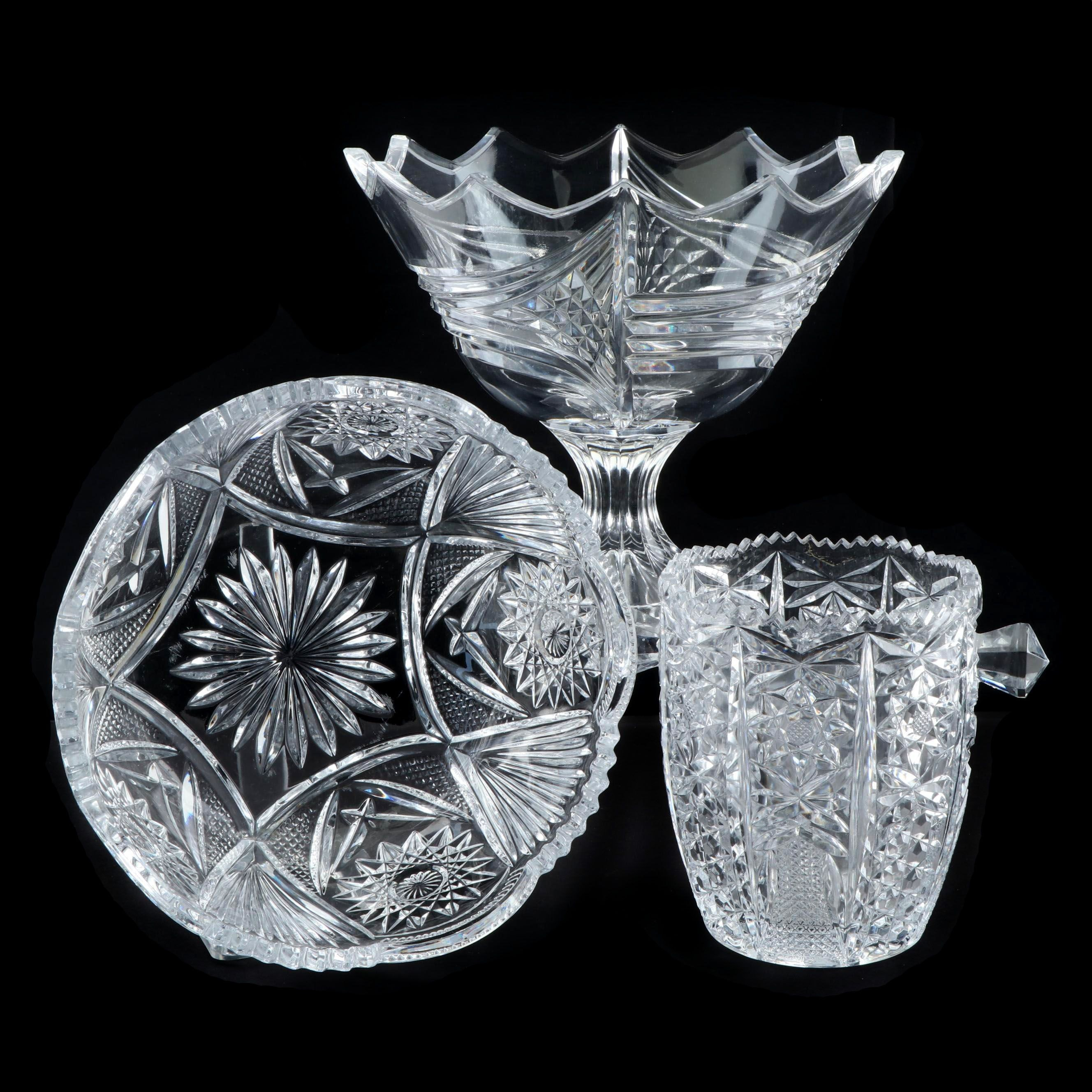 Pressed Glass Compote, Bowl, and Champagne Ice Bucket