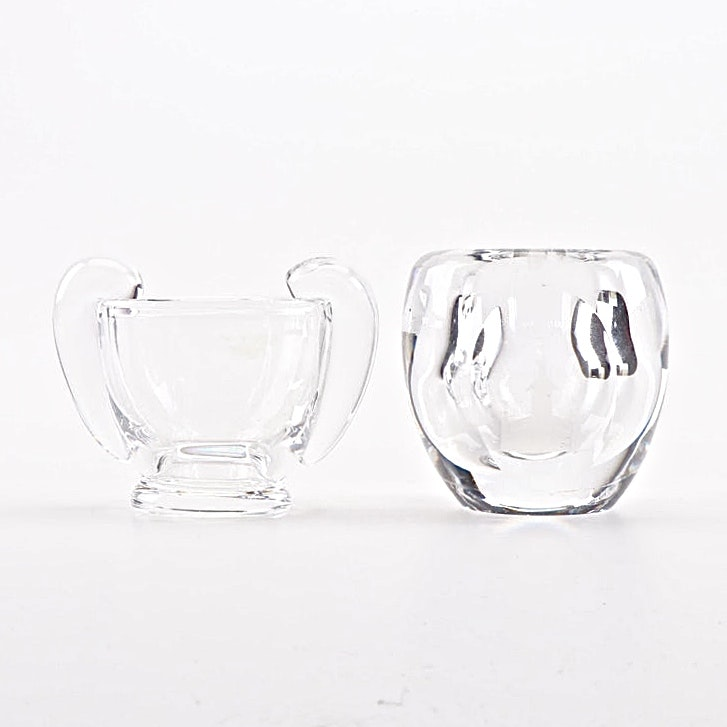 Steuben Glass Sugar Bowl with Etched Crystal Candle Holder