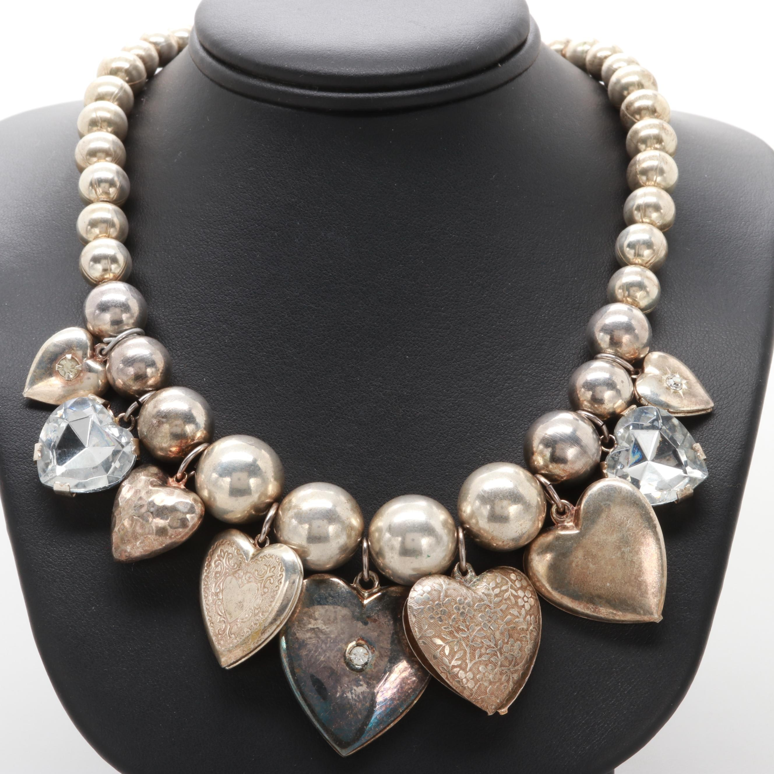 Silver Tone Faceted Glass Heart Motif Necklace