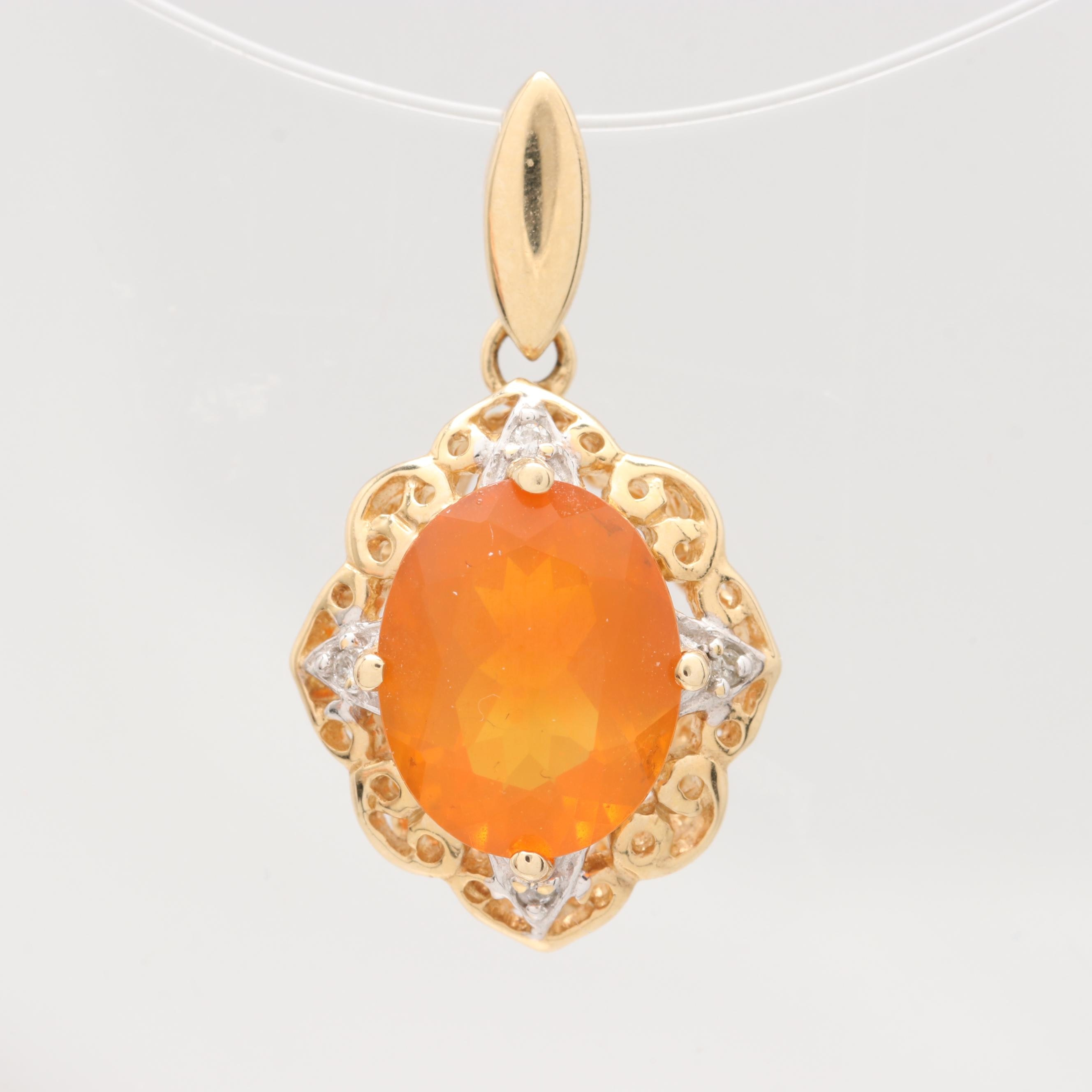 14K Yellow Gold Fire Opal and Diamond Pendant