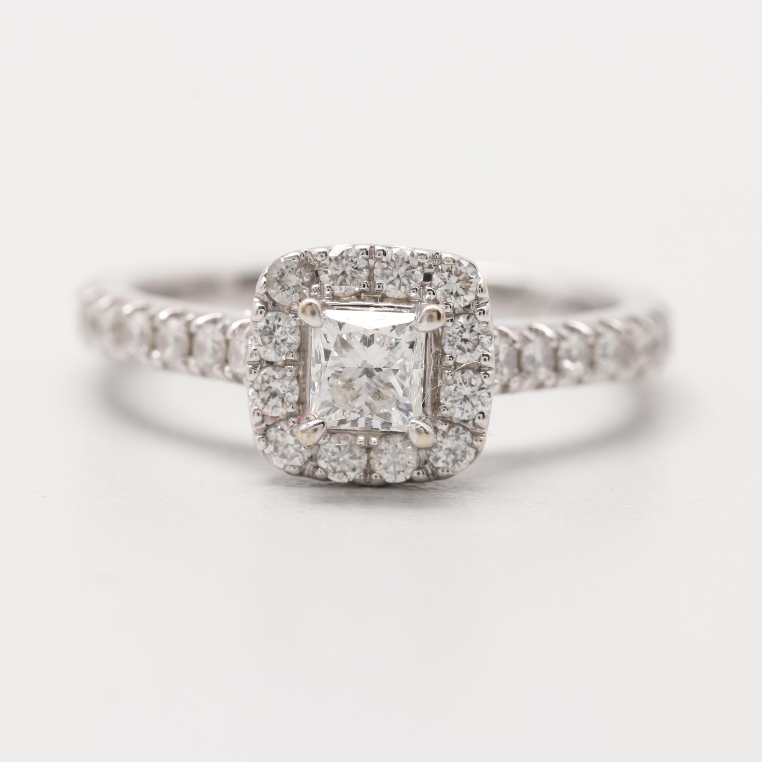 Neil Lane 14K White Gold 0.96 CTW Diamond Halo Ring