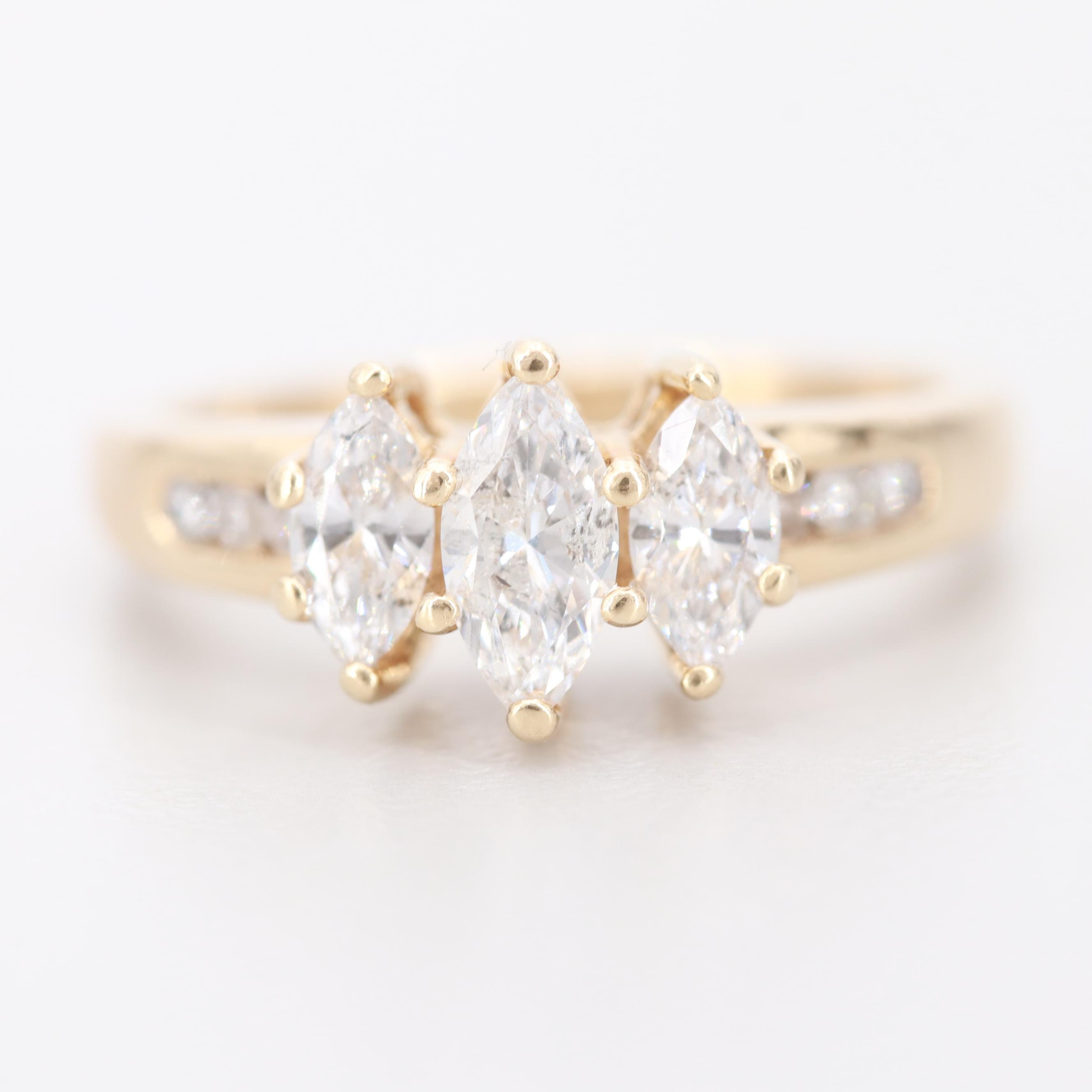 14K Yellow Gold Past, Present, Future 0.96 CTW Diamond Ring