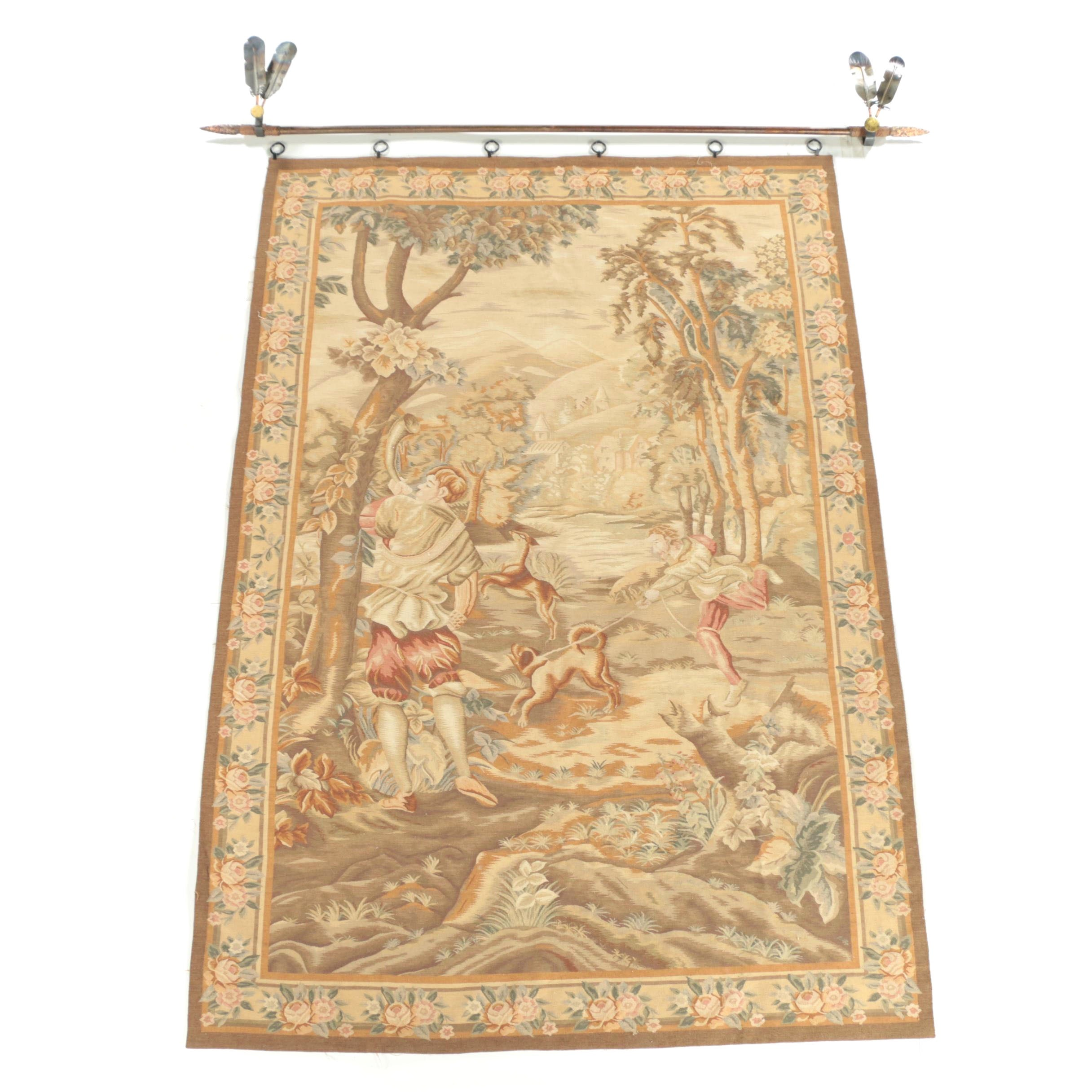 """Handmade Belgian Style """"Hunting"""" Wool Tapestry with Hanging Rod"""