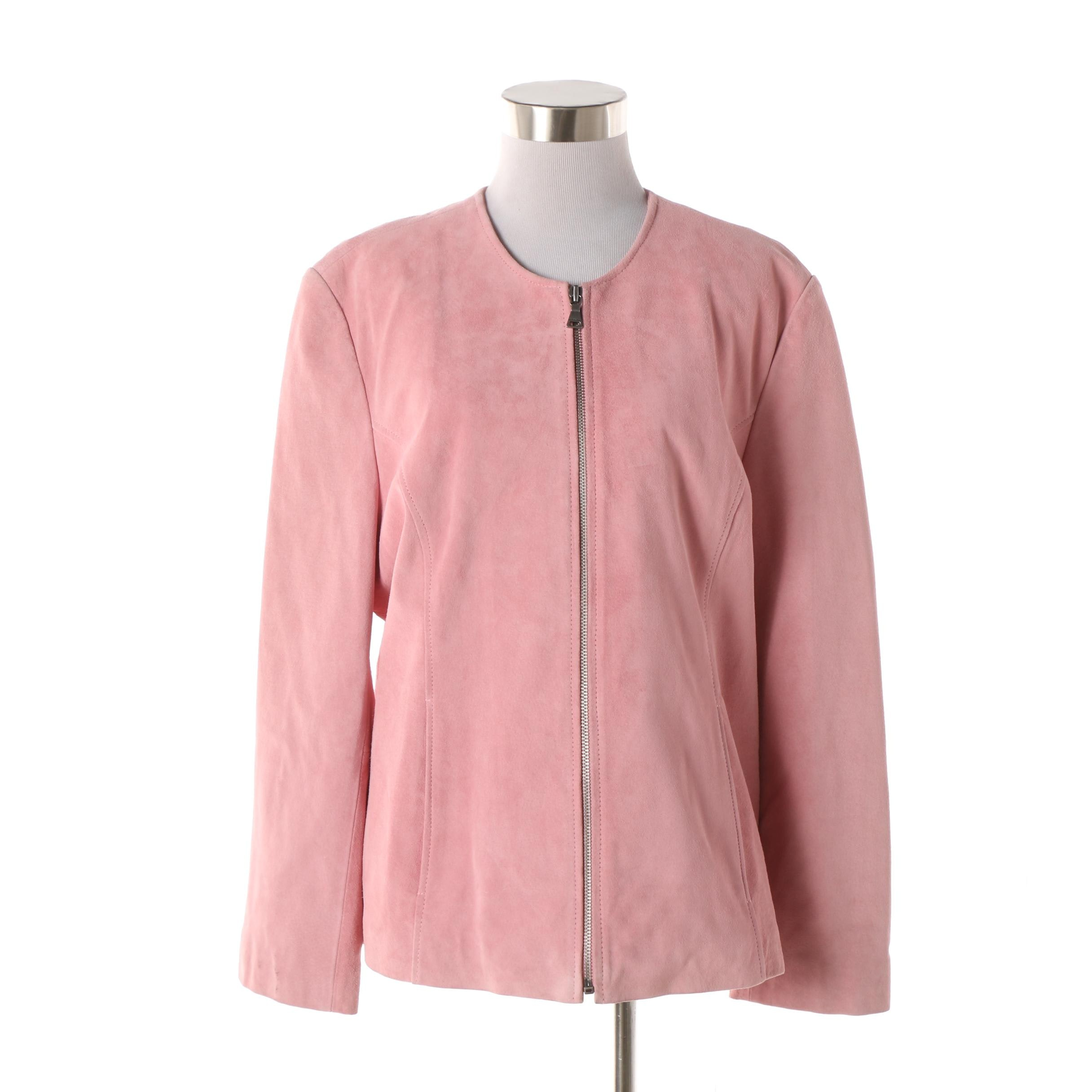 Women's Bernardo Pink Suede Collarless Jacket