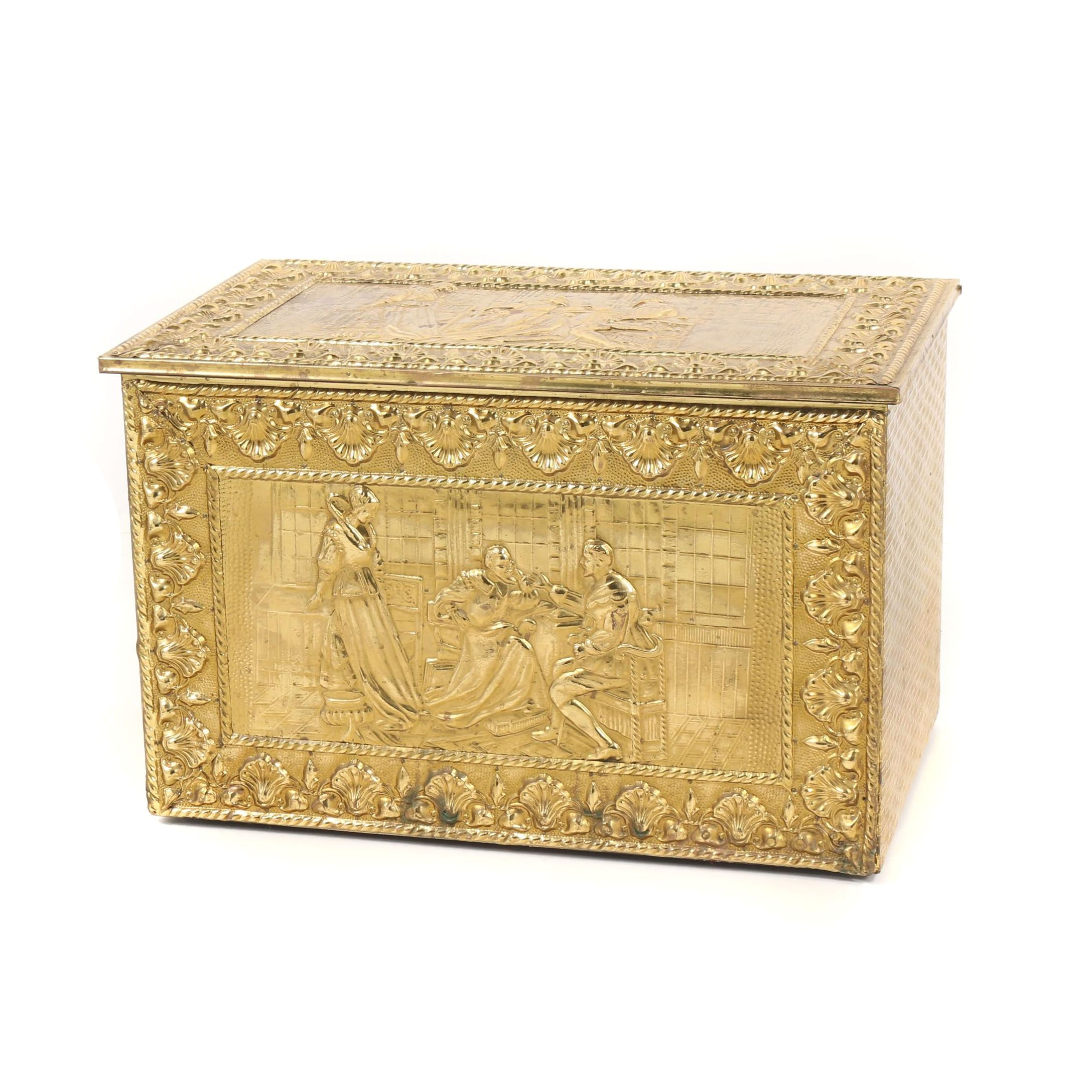 Wooden Small Trunk with Gilded Brass Overlay, 20th Century