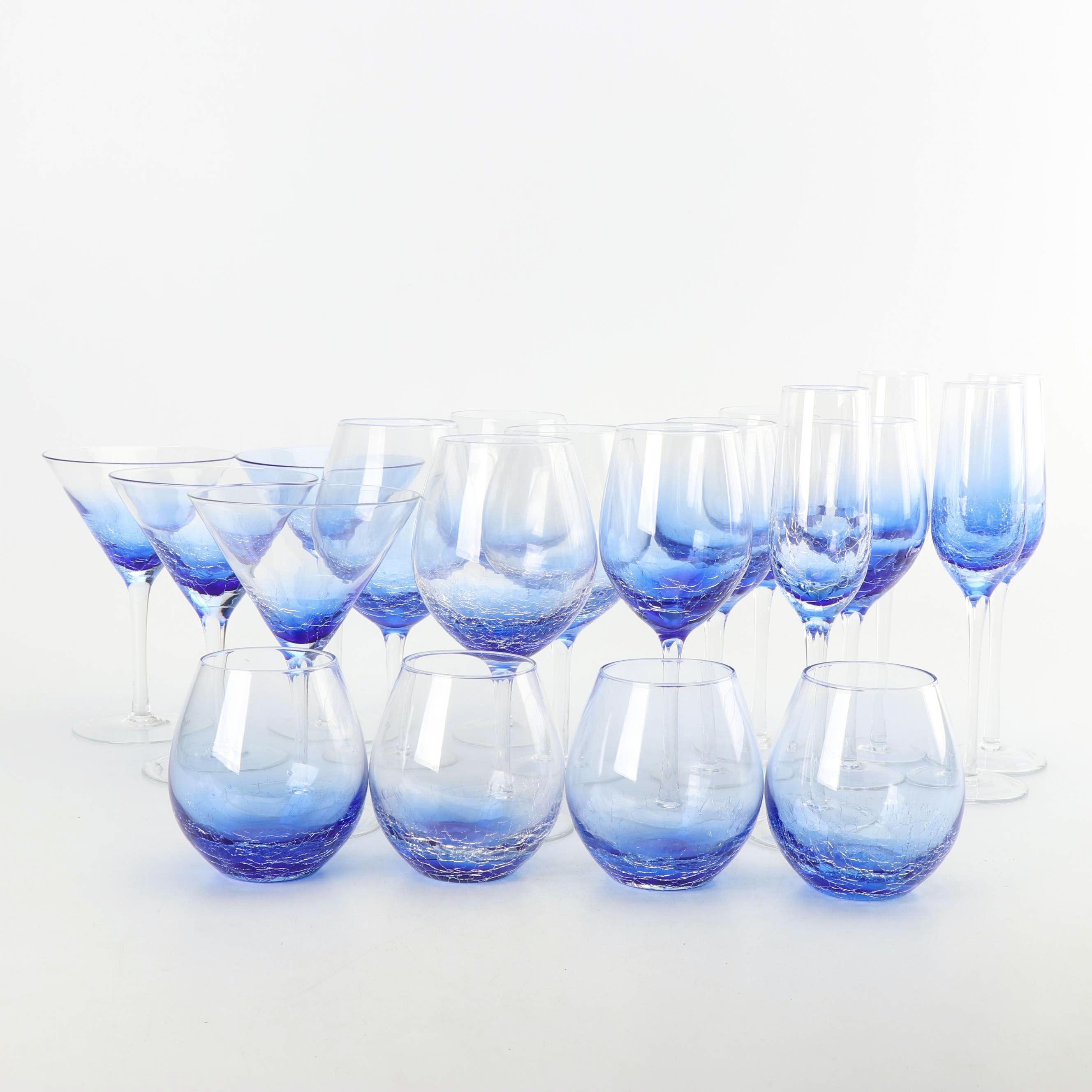 "Pier1 ""Crackle Blue"" Glass Stemware"