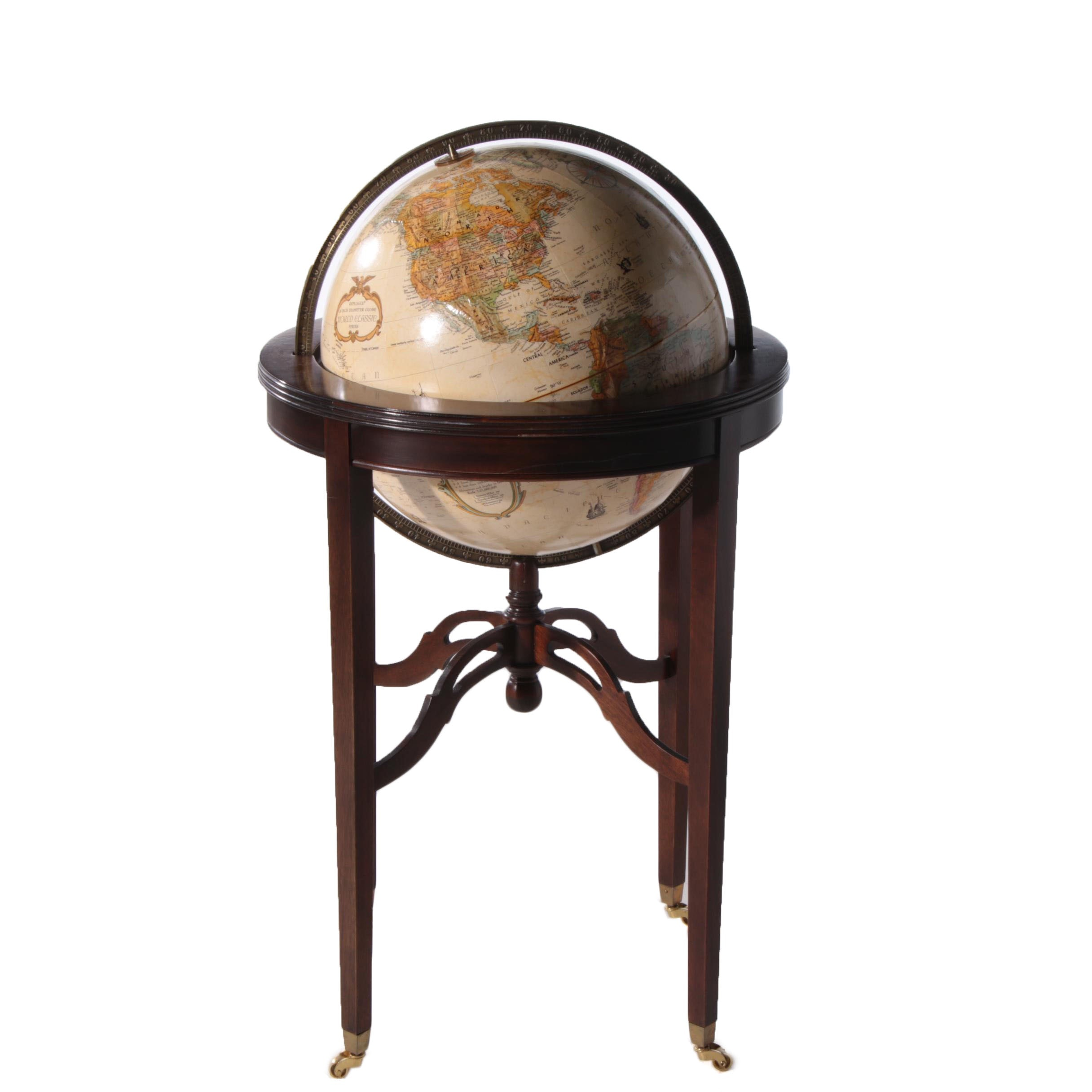 """Contemporary """"World Classic Series"""" 16 Inch Globe on Mahogany Stand by Replogle"""